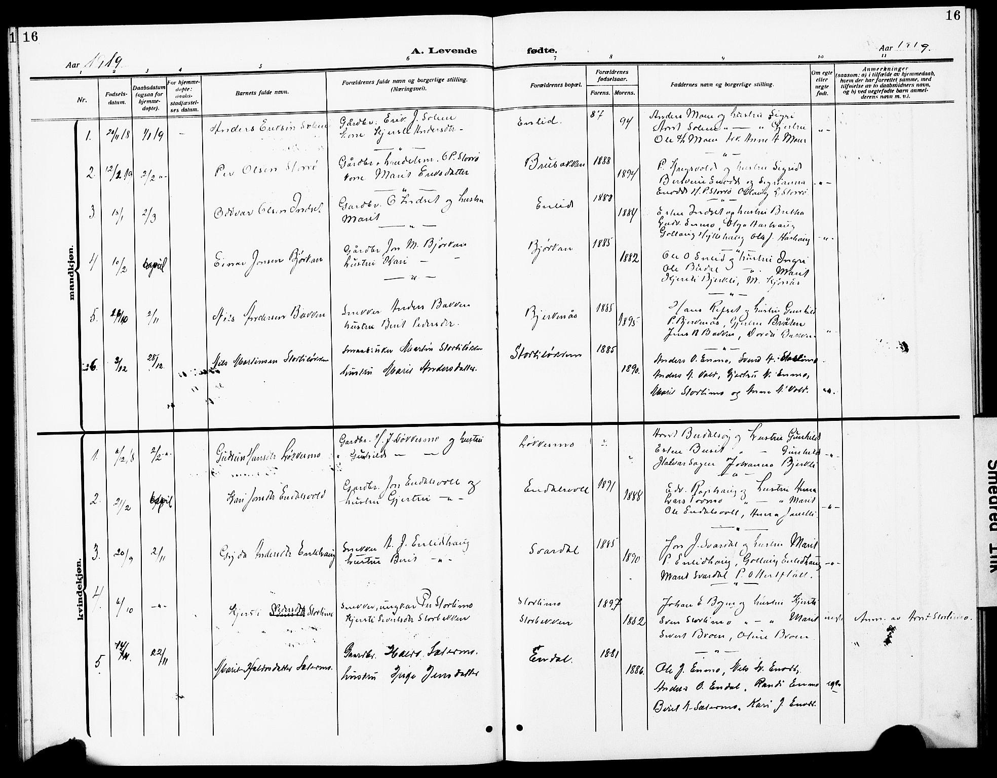 SAT, Ministerialprotokoller, klokkerbøker og fødselsregistre - Sør-Trøndelag, 690/L1052: Klokkerbok nr. 690C02, 1907-1929, s. 16