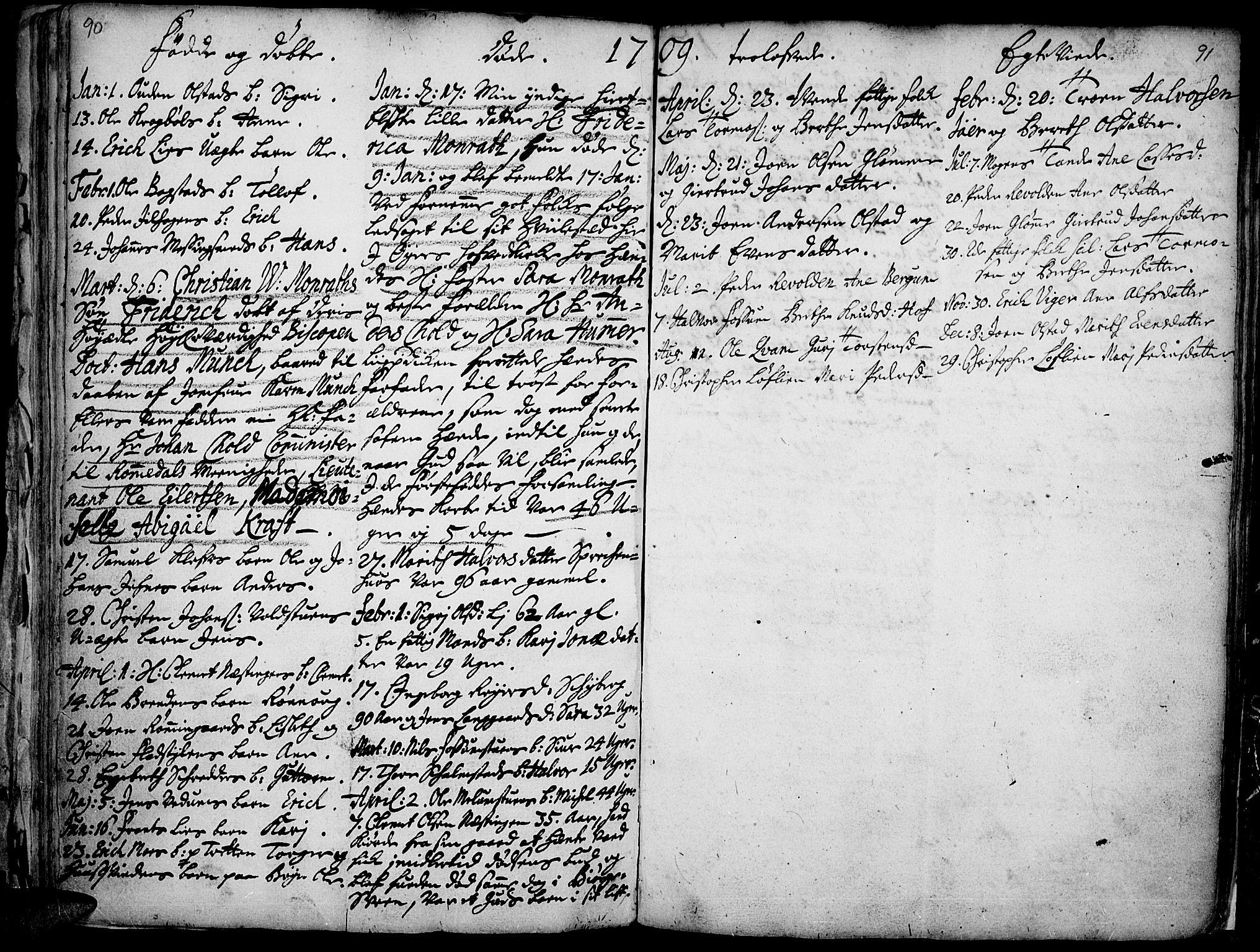 SAH, Øyer prestekontor, Ministerialbok nr. 1, 1671-1727, s. 90-91