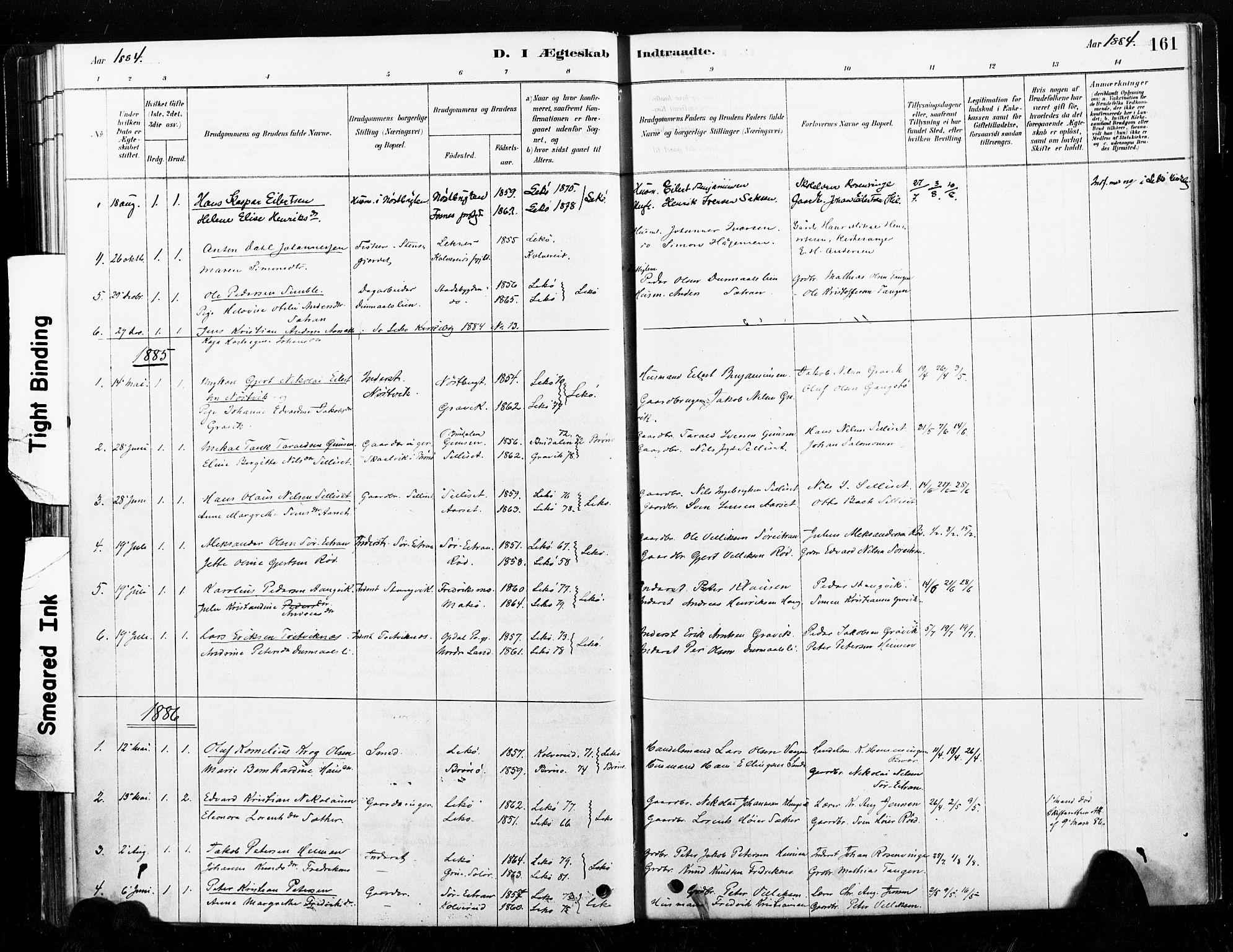 SAT, Ministerialprotokoller, klokkerbøker og fødselsregistre - Nord-Trøndelag, 789/L0705: Ministerialbok nr. 789A01, 1878-1910, s. 161