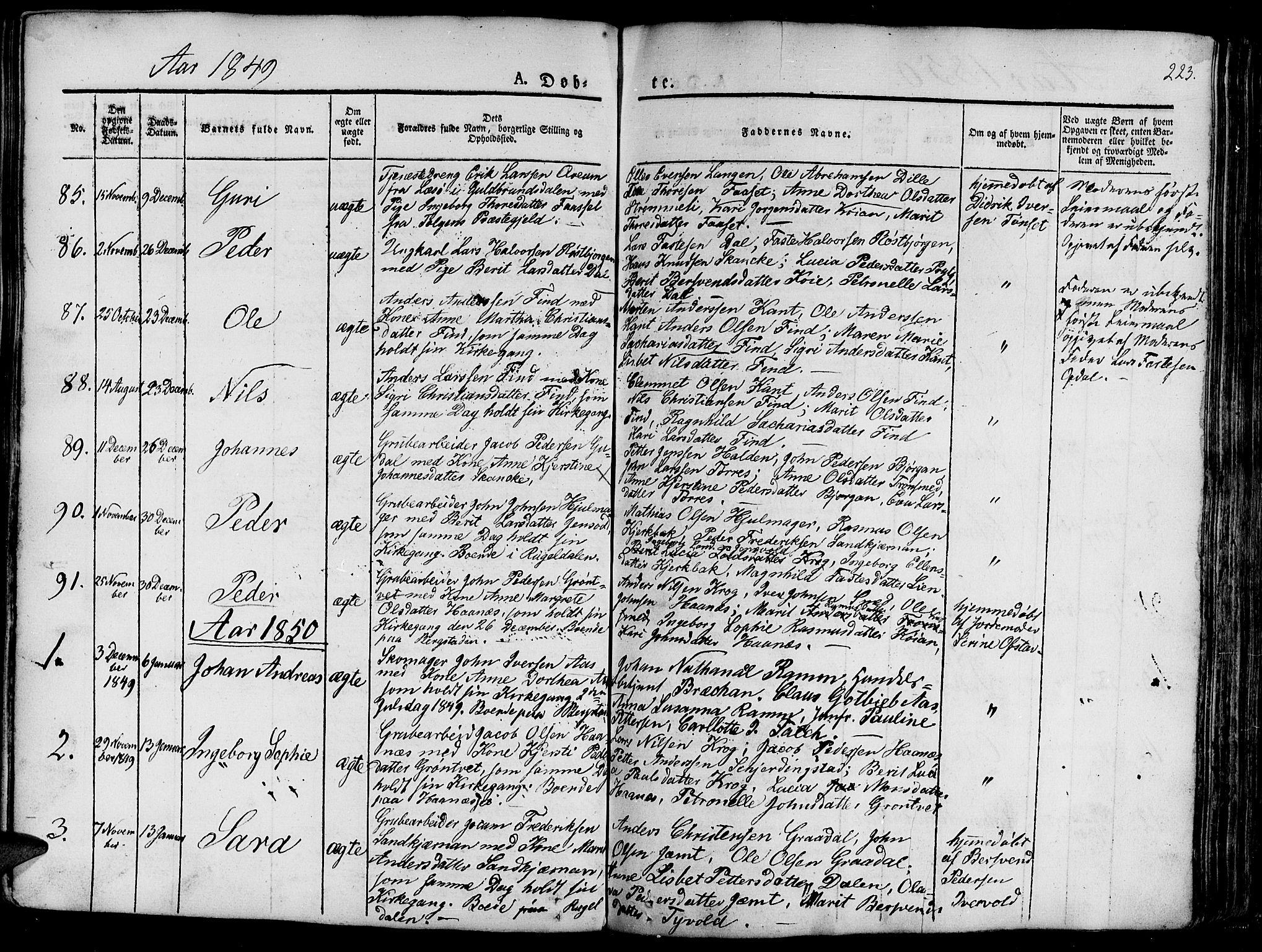 SAT, Ministerialprotokoller, klokkerbøker og fødselsregistre - Sør-Trøndelag, 681/L0938: Klokkerbok nr. 681C02, 1829-1879, s. 223