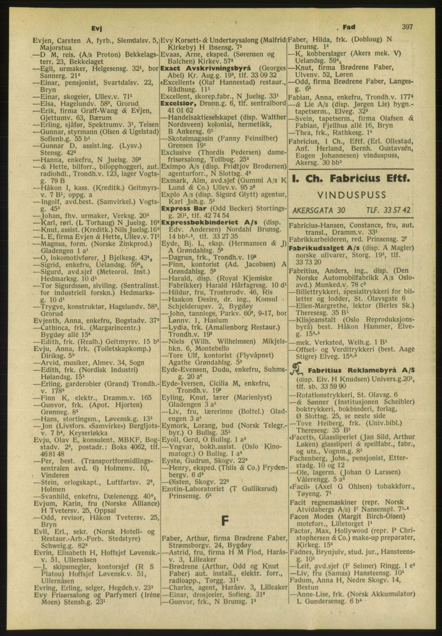 PUBL, Kristiania/Oslo adressebok, 1954, s. 397