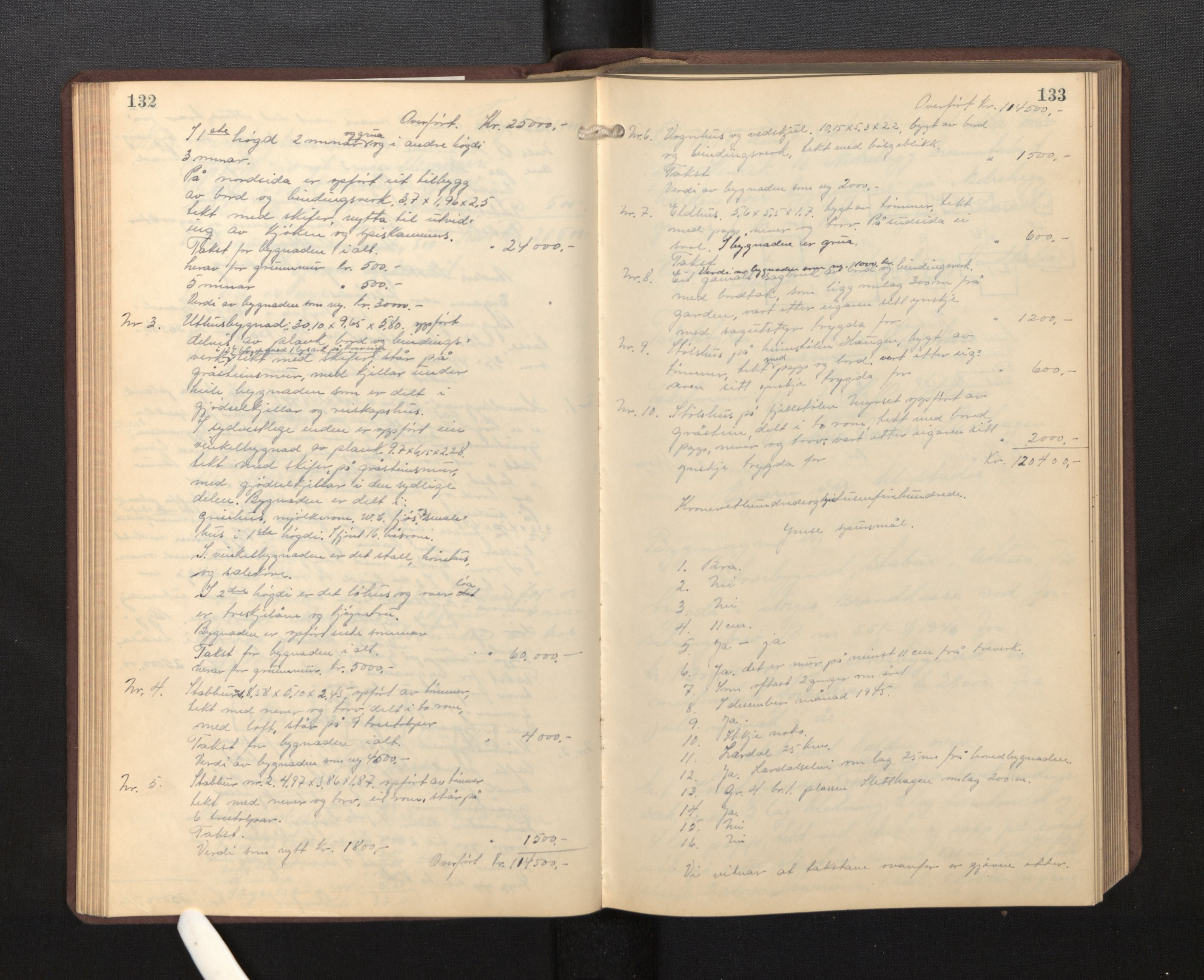 SAB, Lensmannen i Borgund, 0012/L0002: Branntakstprotokoll, 1929-1933, s. 132-133