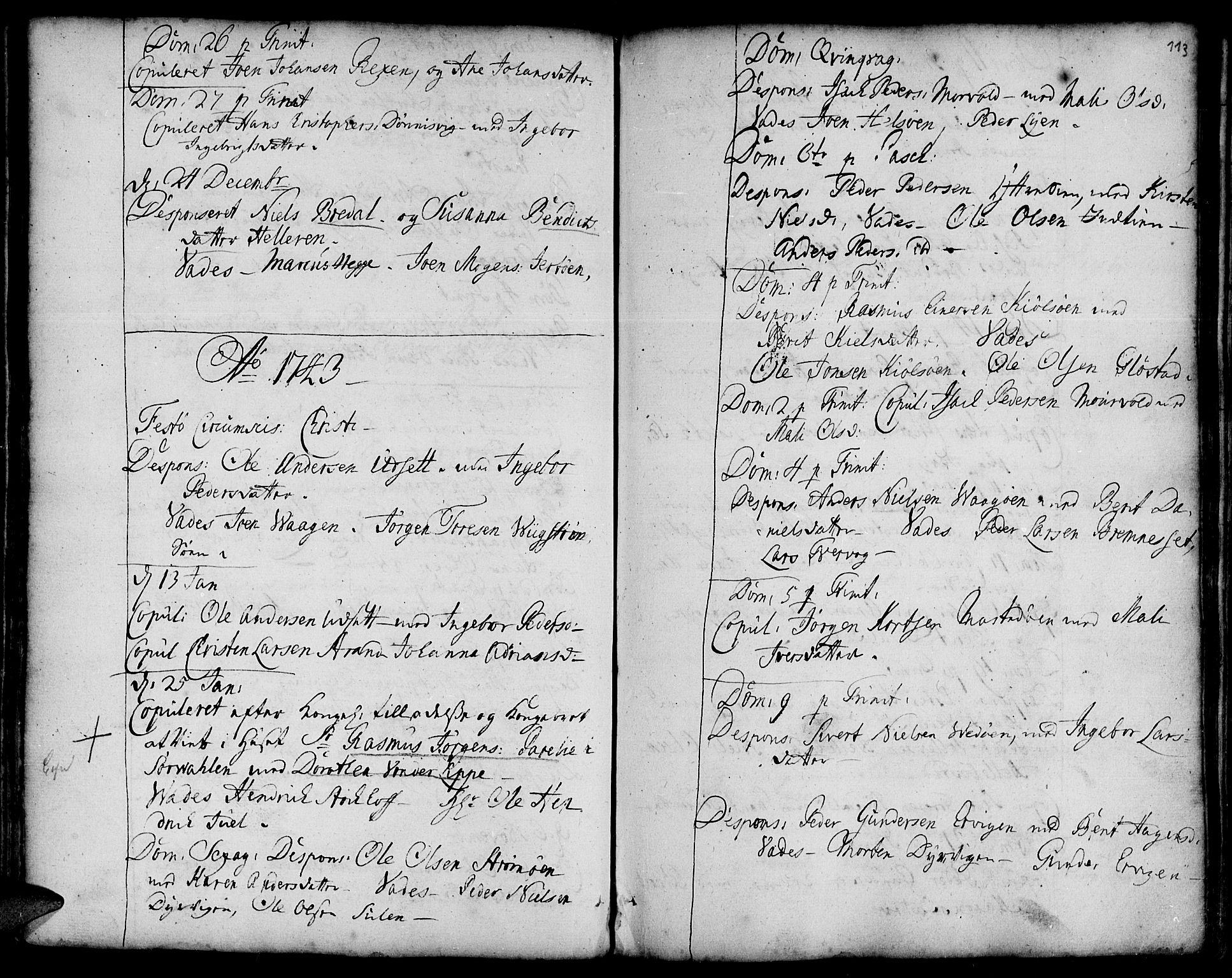SAT, Ministerialprotokoller, klokkerbøker og fødselsregistre - Sør-Trøndelag, 634/L0525: Ministerialbok nr. 634A01, 1736-1775, s. 113