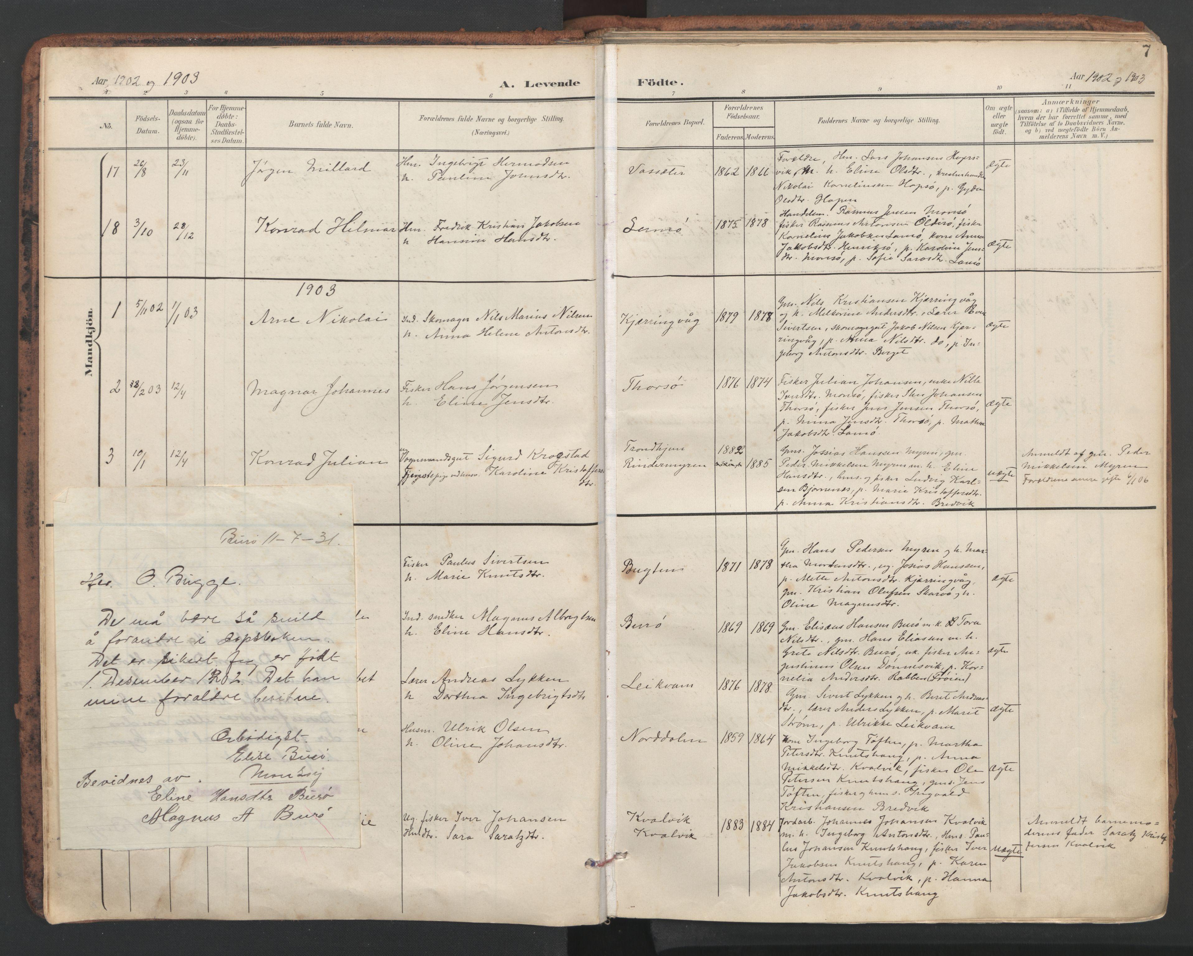 SAT, Ministerialprotokoller, klokkerbøker og fødselsregistre - Sør-Trøndelag, 634/L0537: Ministerialbok nr. 634A13, 1896-1922, s. 7