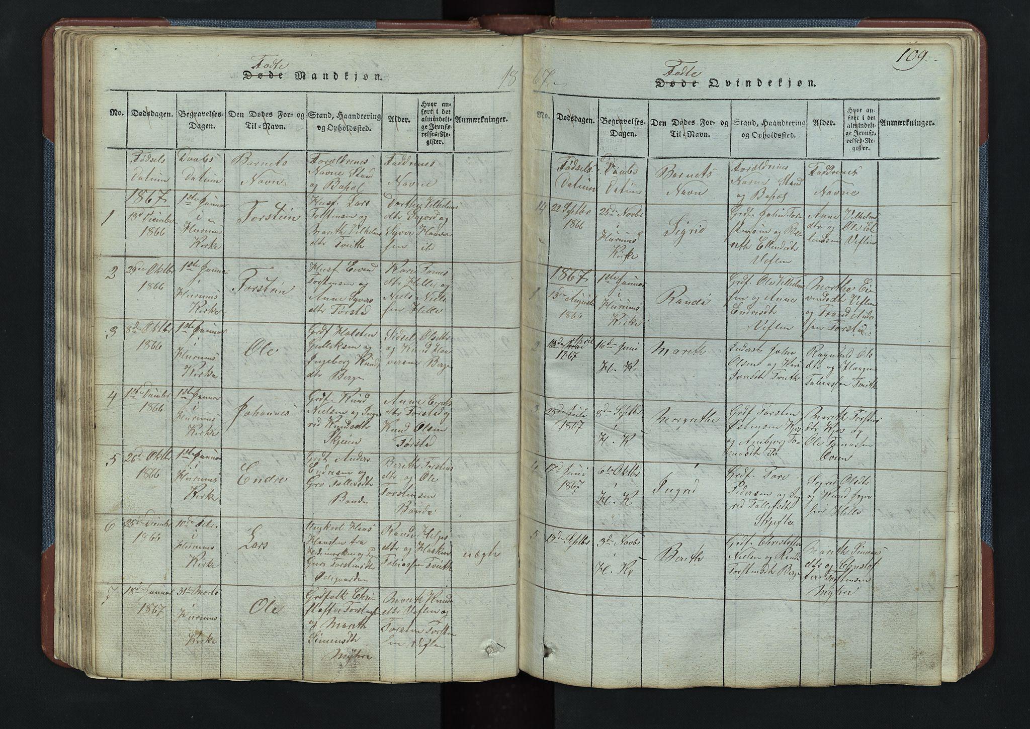 SAH, Vang prestekontor, Valdres, Klokkerbok nr. 3, 1814-1892, s. 109