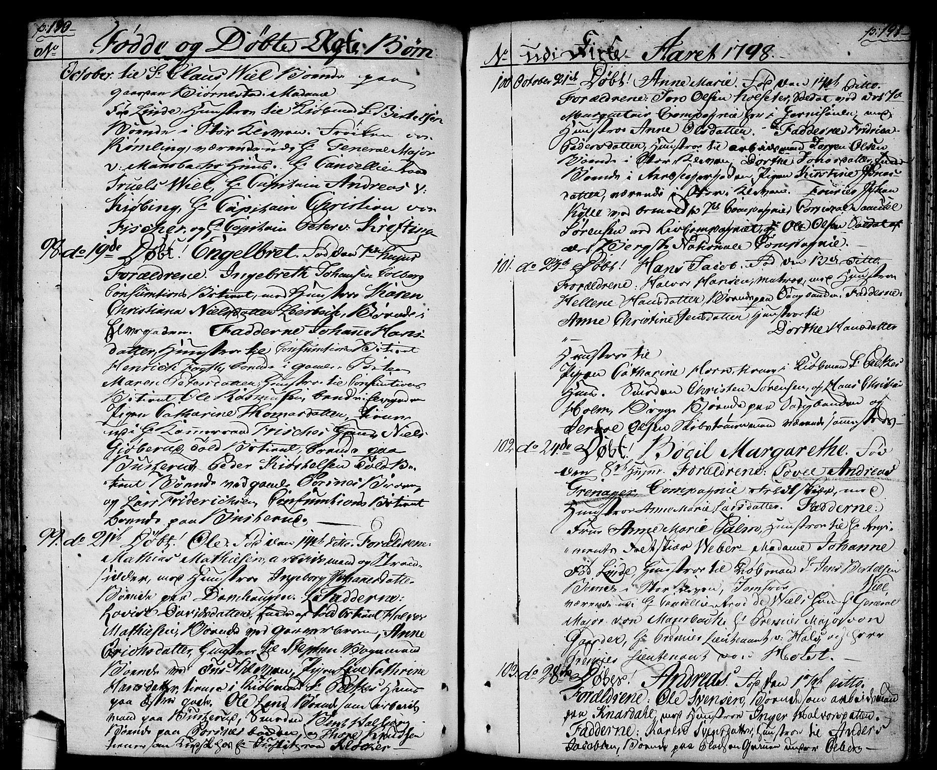 SAO, Halden prestekontor Kirkebøker, F/Fa/L0002: Ministerialbok nr. I 2, 1792-1812, s. 190-191