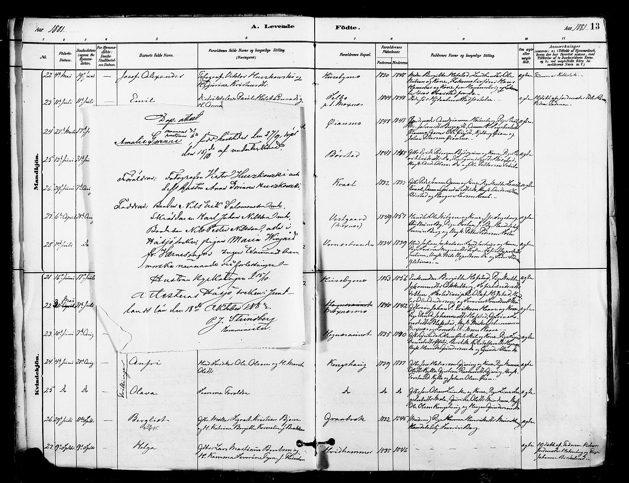 SAT, Ministerialprotokoller, klokkerbøker og fødselsregistre - Nord-Trøndelag, 709/L0077: Ministerialbok nr. 709A17, 1880-1895, s. 13