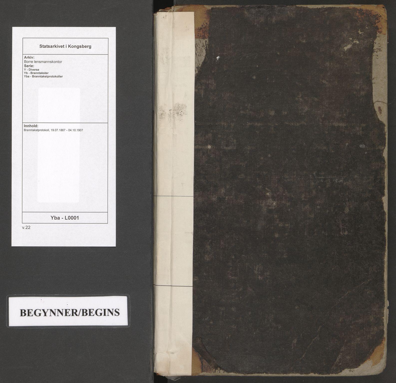 SAKO, Borre lensmannskontor, Y/Yb/Yba/L0001: Branntakstprotokoll, 1867-1907