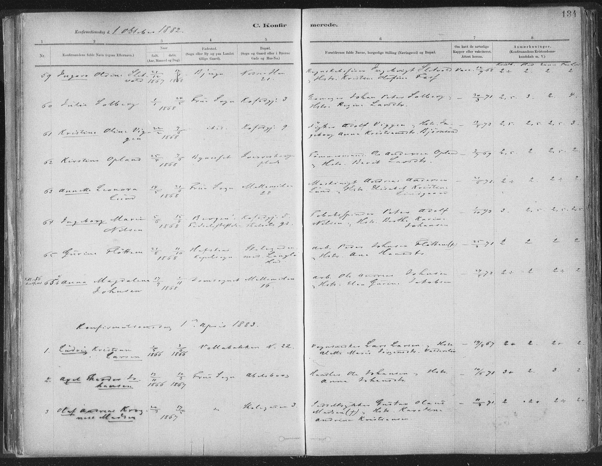 SAT, Ministerialprotokoller, klokkerbøker og fødselsregistre - Sør-Trøndelag, 603/L0162: Ministerialbok nr. 603A01, 1879-1895, s. 134