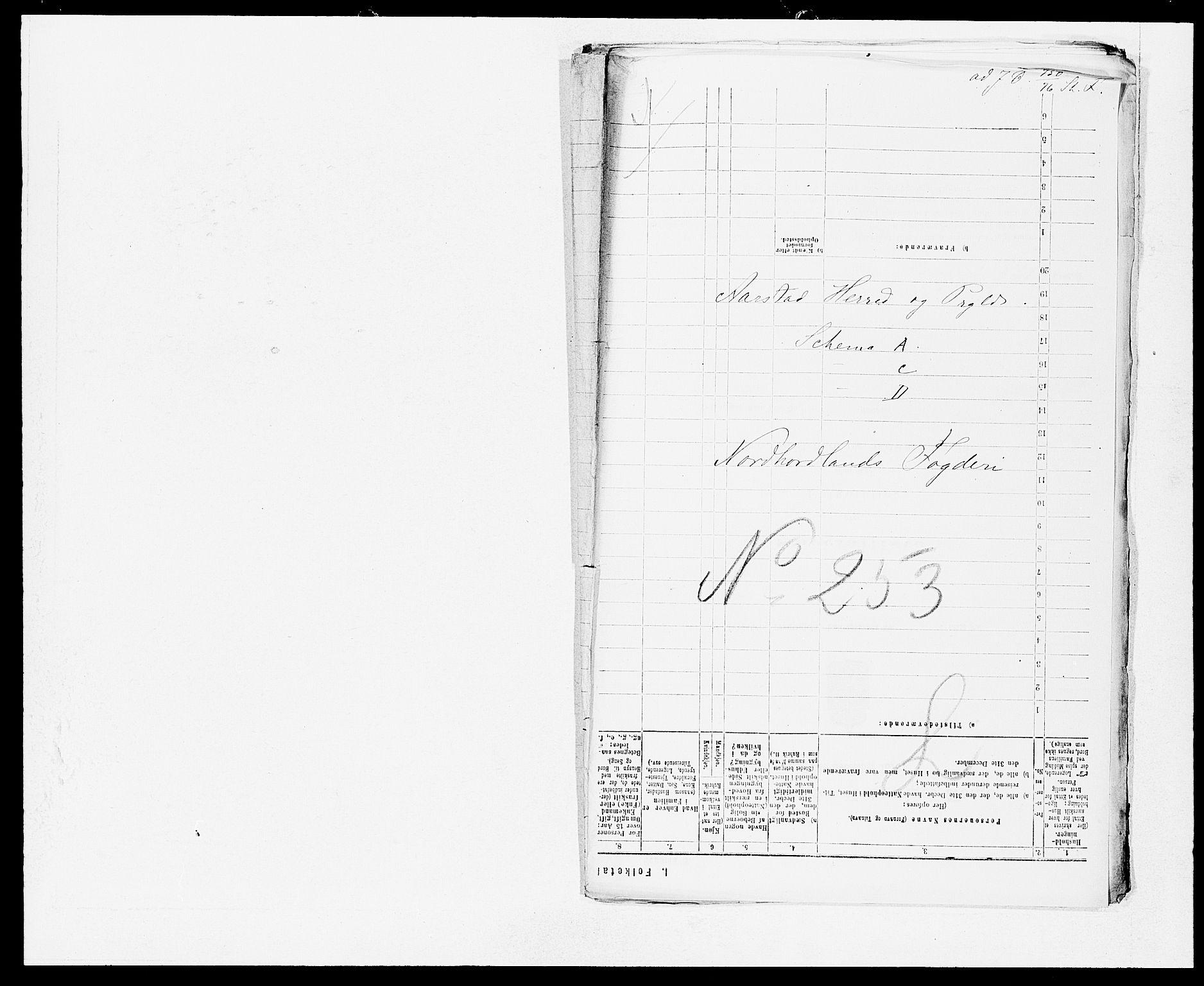 SAB, Folketelling 1875 for 1280P Årstad prestegjeld, 1875, s. 1