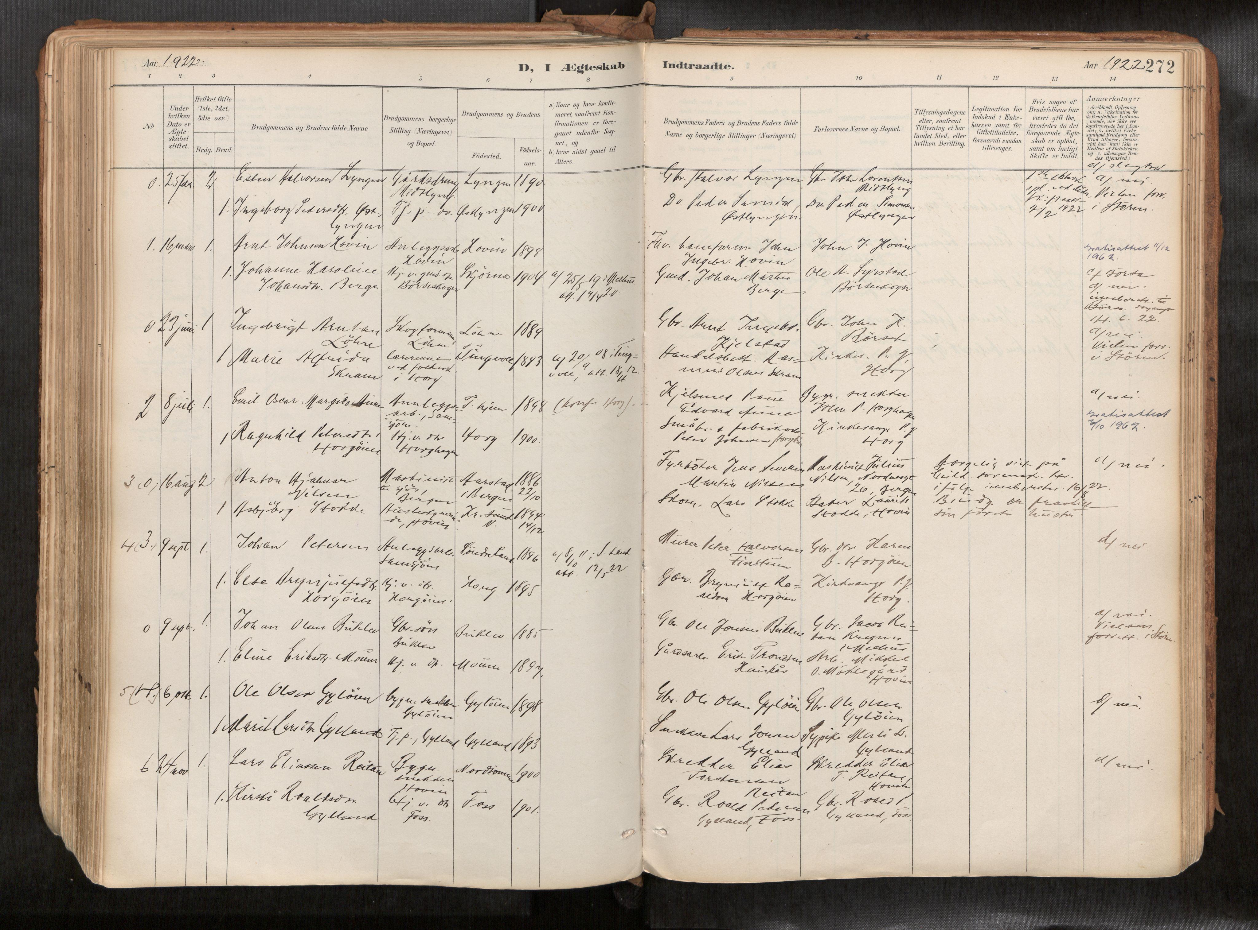 SAT, Ministerialprotokoller, klokkerbøker og fødselsregistre - Sør-Trøndelag, 692/L1105b: Ministerialbok nr. 692A06, 1891-1934, s. 272