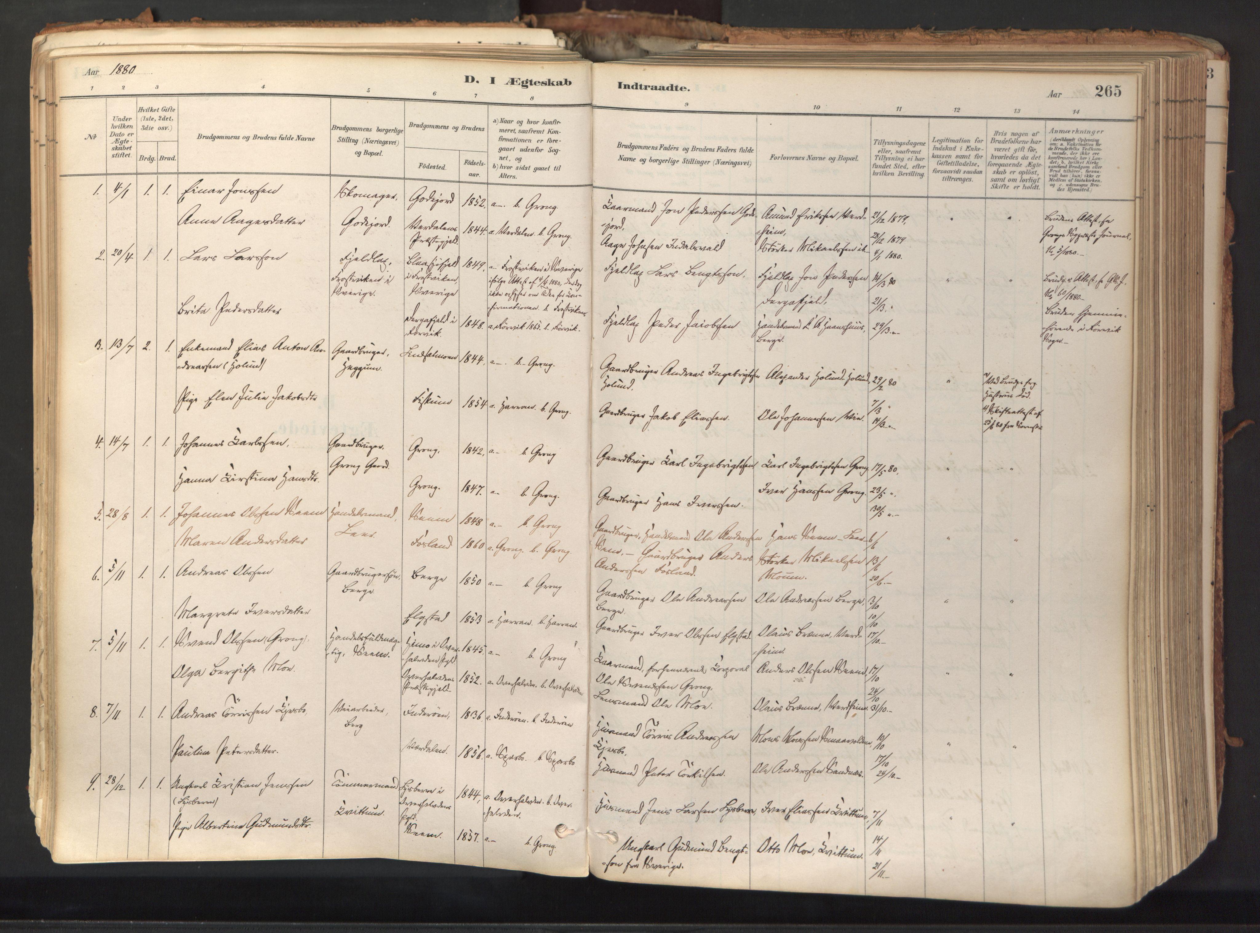 SAT, Ministerialprotokoller, klokkerbøker og fødselsregistre - Nord-Trøndelag, 758/L0519: Ministerialbok nr. 758A04, 1880-1926, s. 265