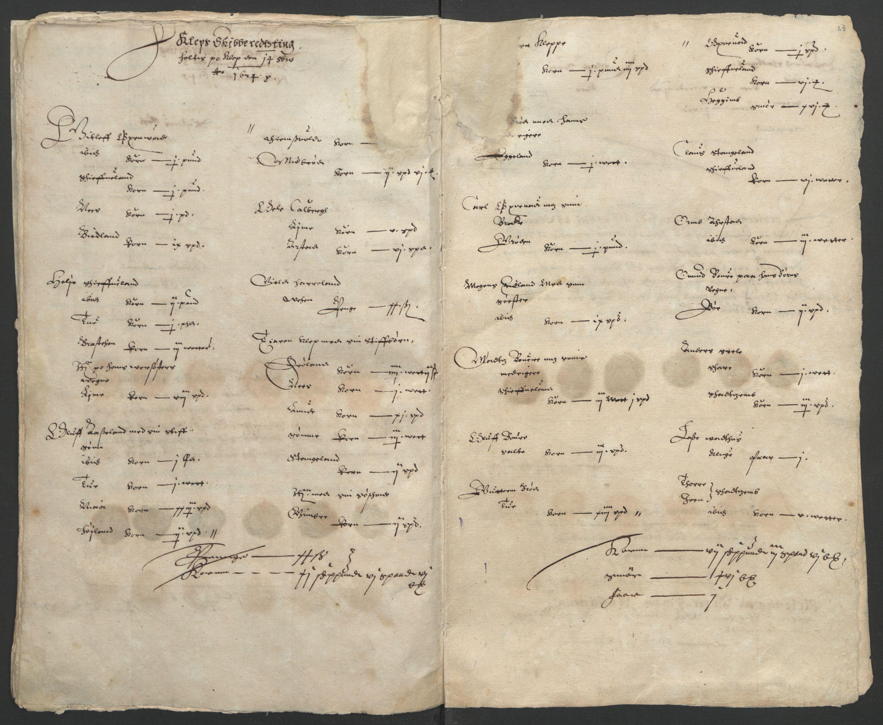 RA, Stattholderembetet 1572-1771, Ek/L0010: Jordebøker til utlikning av rosstjeneste 1624-1626:, 1624-1626, s. 57