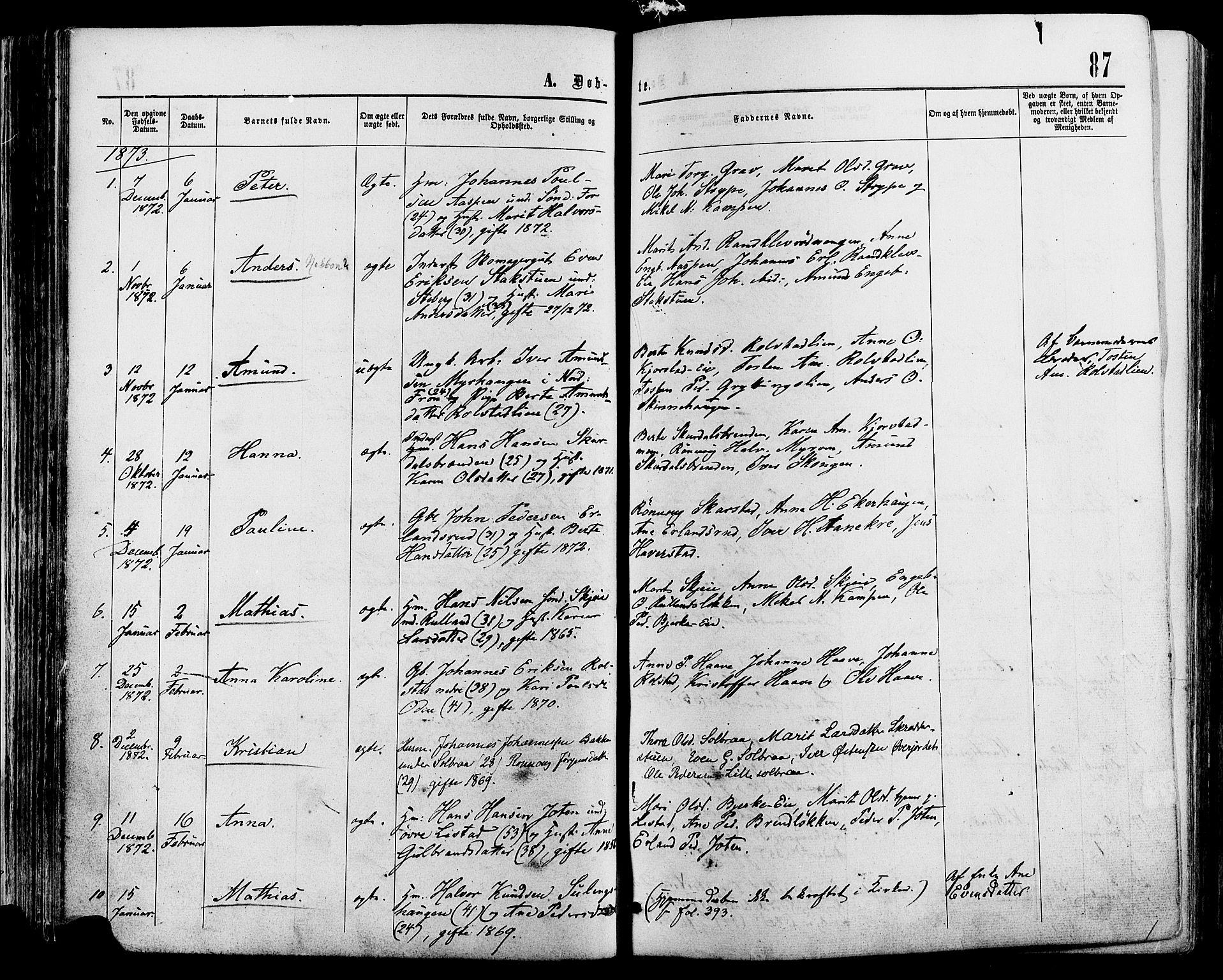 SAH, Sør-Fron prestekontor, H/Ha/Haa/L0002: Ministerialbok nr. 2, 1864-1880, s. 87