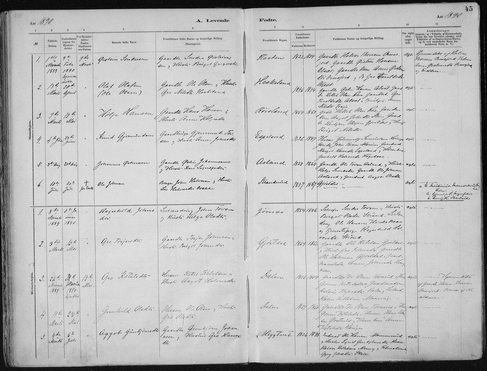 SAKO, Tinn kirkebøker, F/Fa/L0007: Ministerialbok nr. I 7, 1878-1922, s. 45