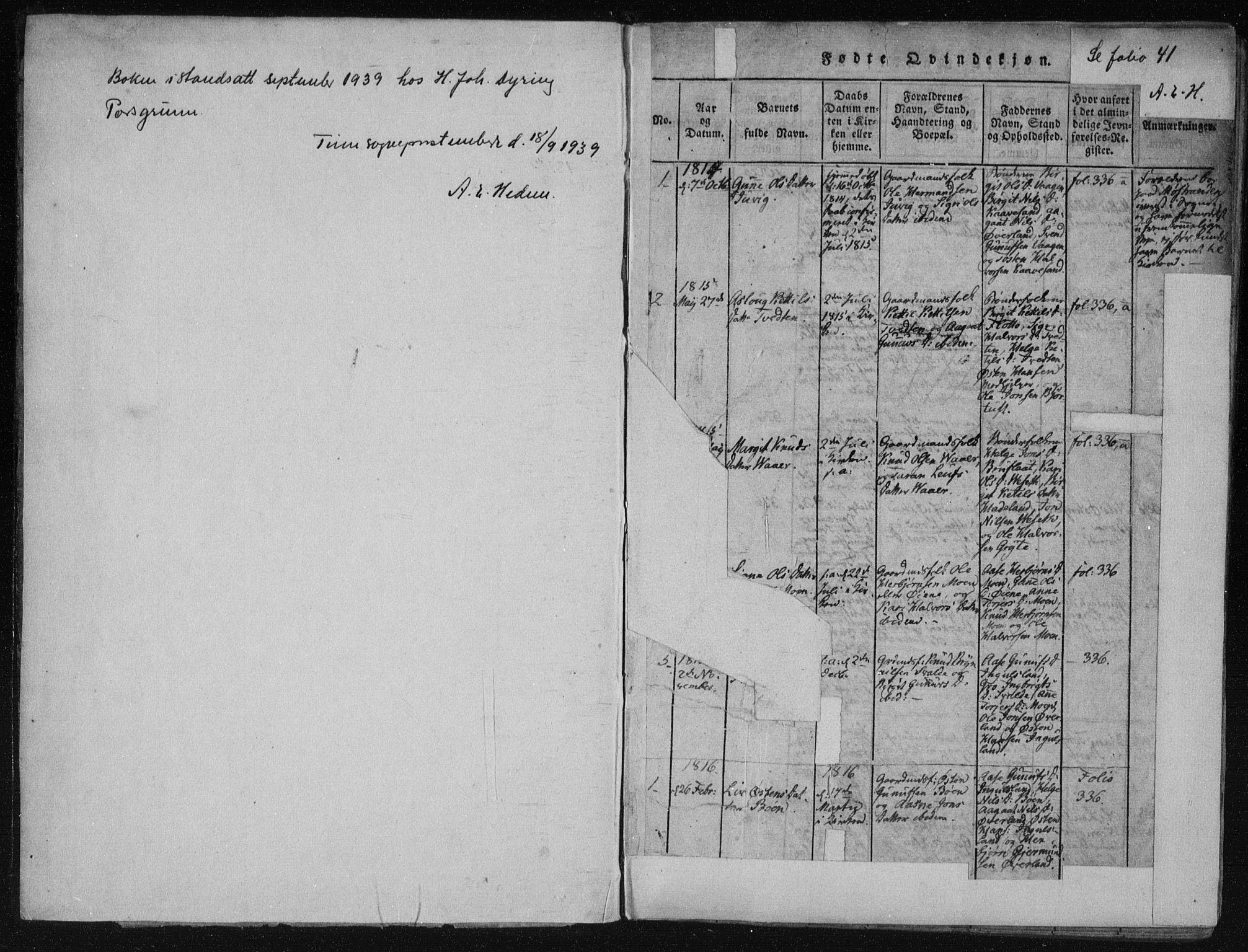 SAKO, Tinn kirkebøker, F/Fc/L0001: Ministerialbok nr. III 1, 1815-1843, s. 1