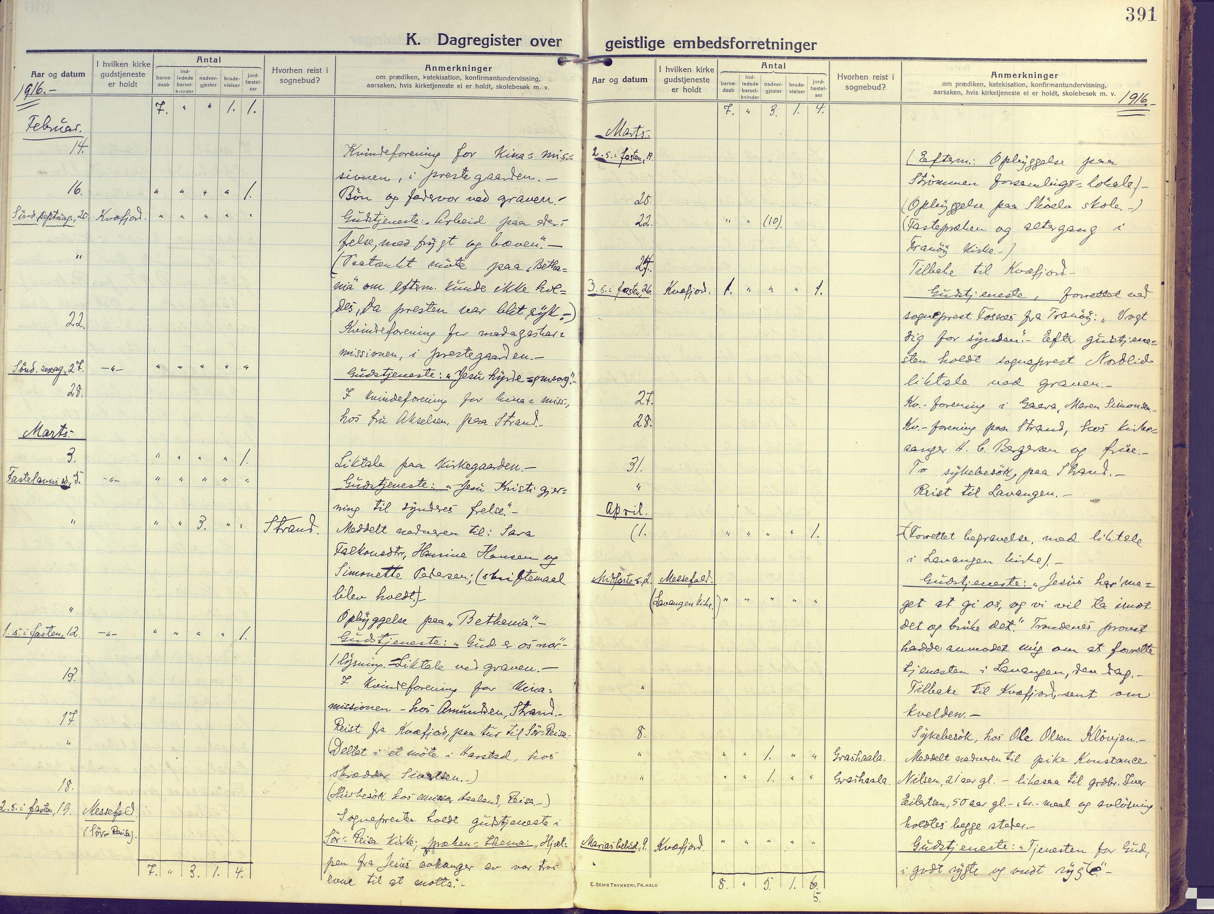 SATØ, Kvæfjord sokneprestkontor, G/Ga/Gaa/L0007kirke: Ministerialbok nr. 7, 1915-1931, s. 391