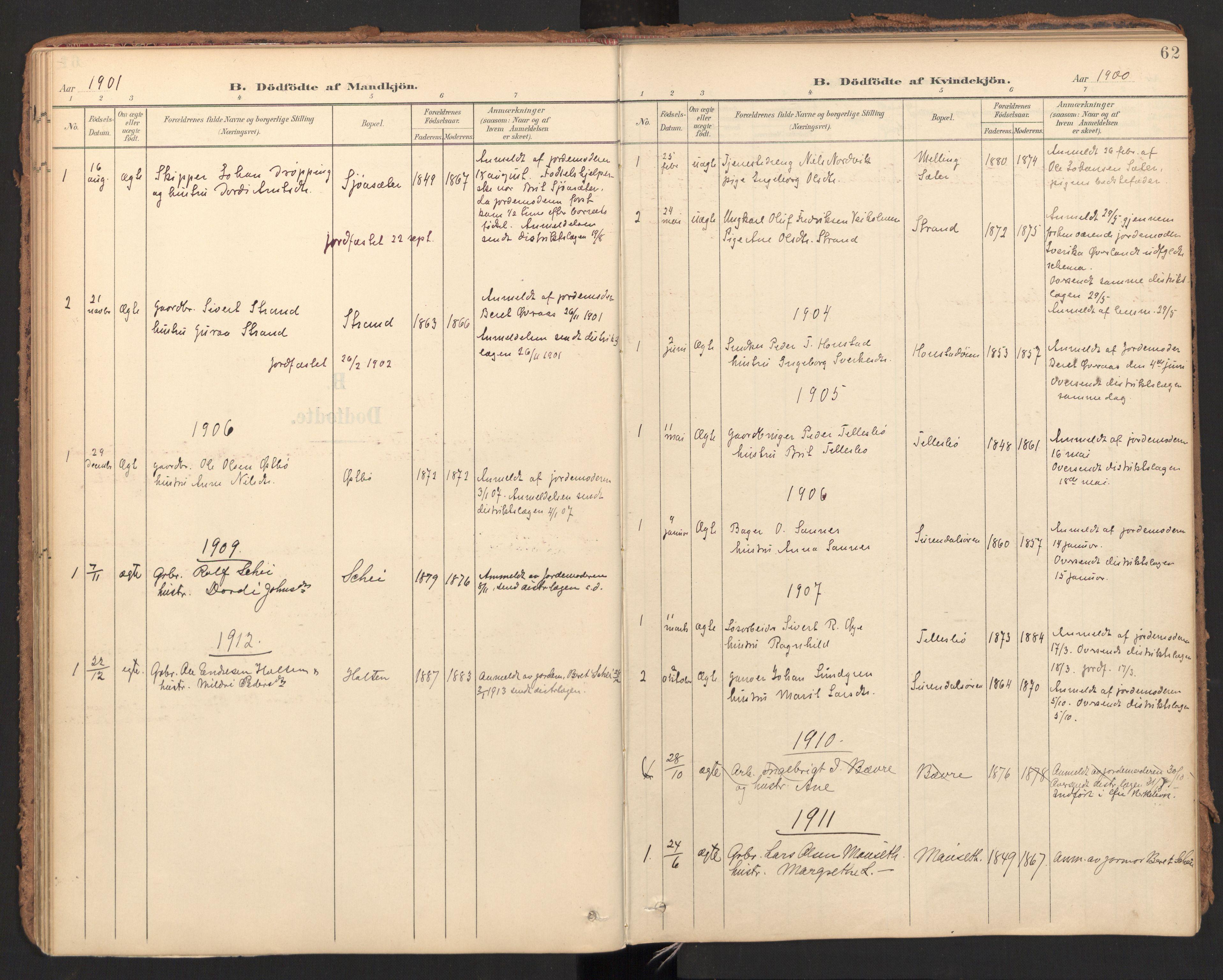 SAT, Ministerialprotokoller, klokkerbøker og fødselsregistre - Møre og Romsdal, 596/L1057: Ministerialbok nr. 596A02, 1900-1917, s. 62