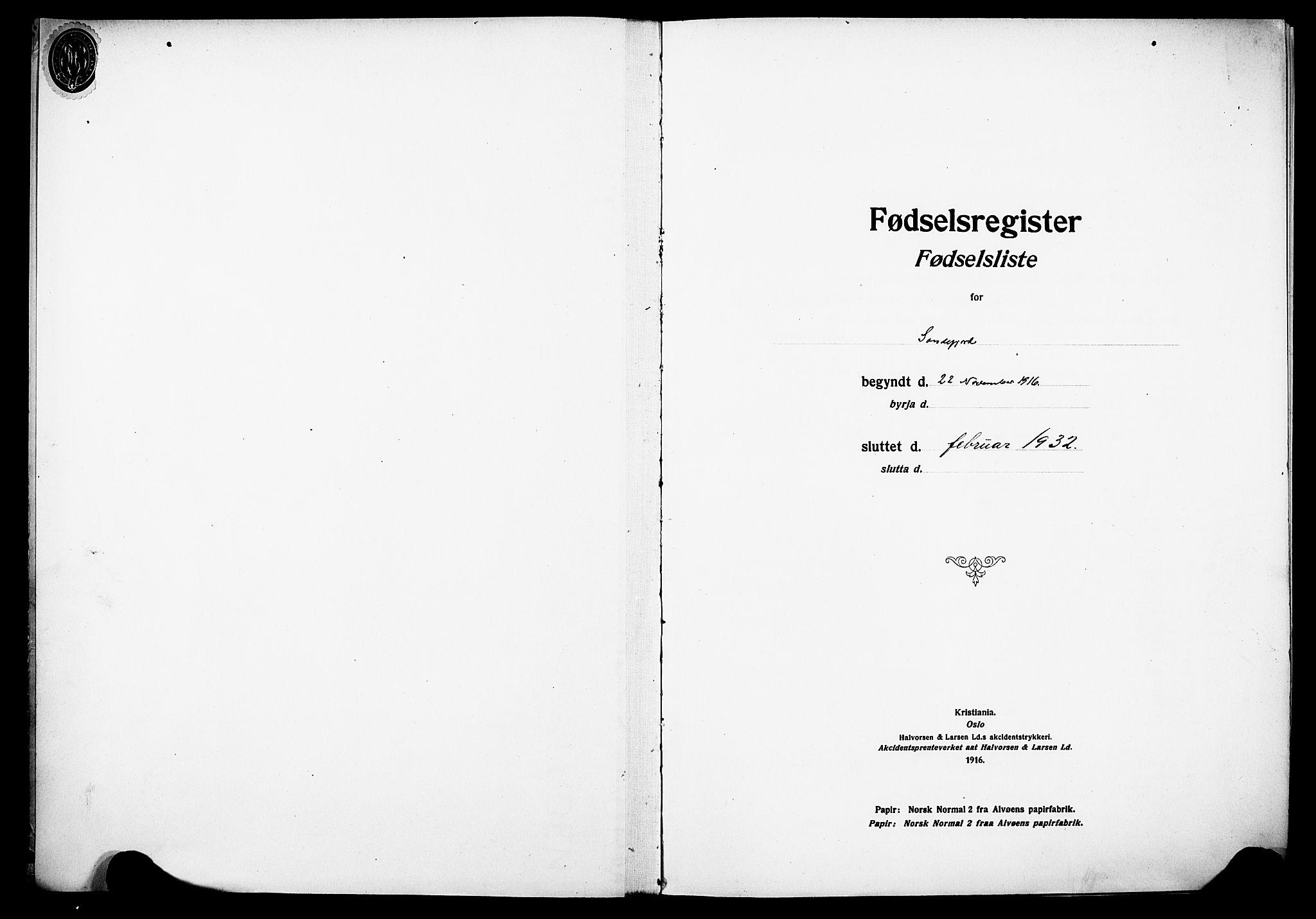 SAKO, Sandefjord kirkebøker, J/Ja/L0001: Fødselsregister nr. 1, 1916-1932