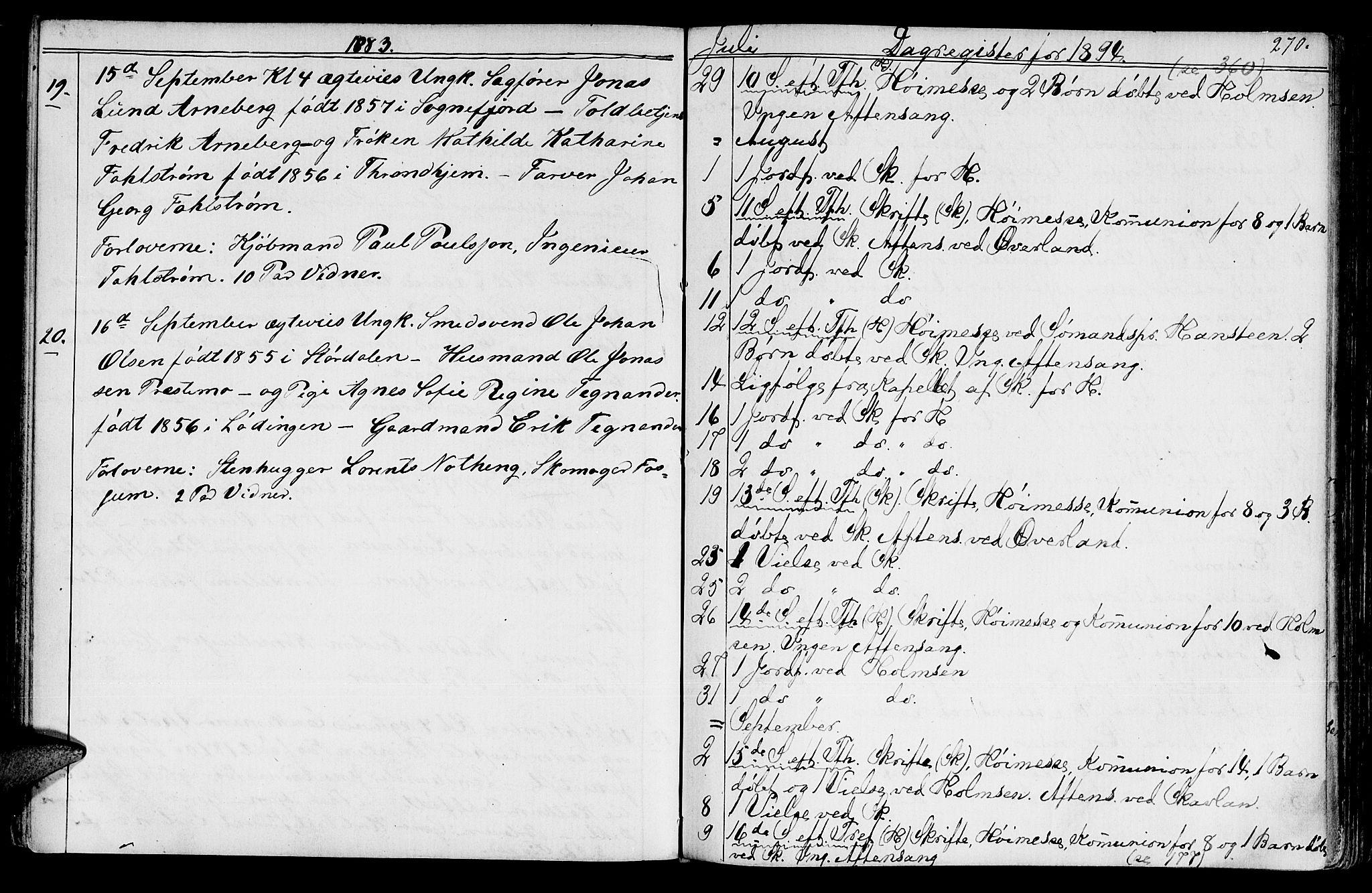 SAT, Ministerialprotokoller, klokkerbøker og fødselsregistre - Sør-Trøndelag, 602/L0142: Klokkerbok nr. 602C10, 1872-1894, s. 270