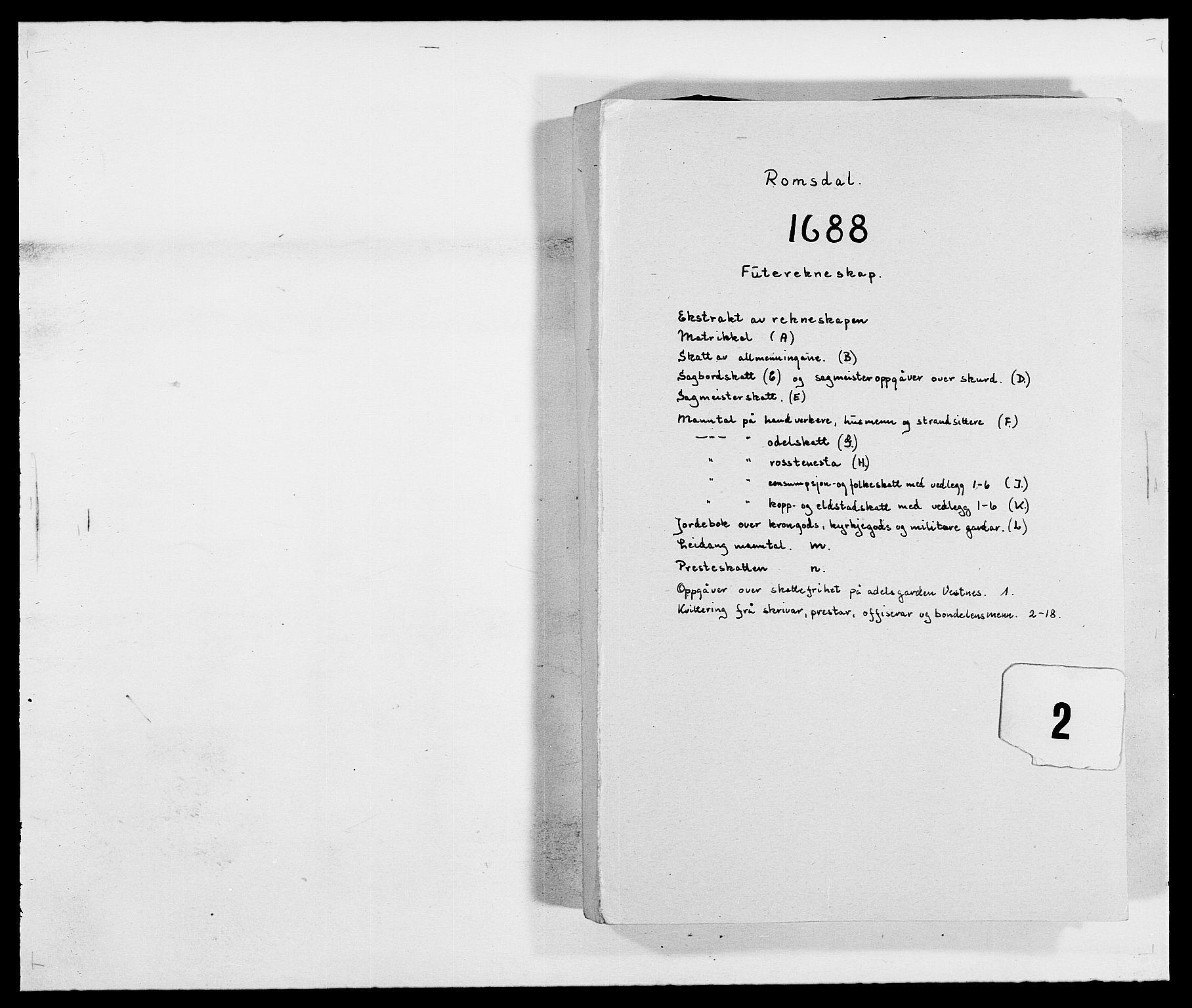 RA, Rentekammeret inntil 1814, Reviderte regnskaper, Fogderegnskap, R55/L3648: Fogderegnskap Romsdal, 1687-1689, s. 157