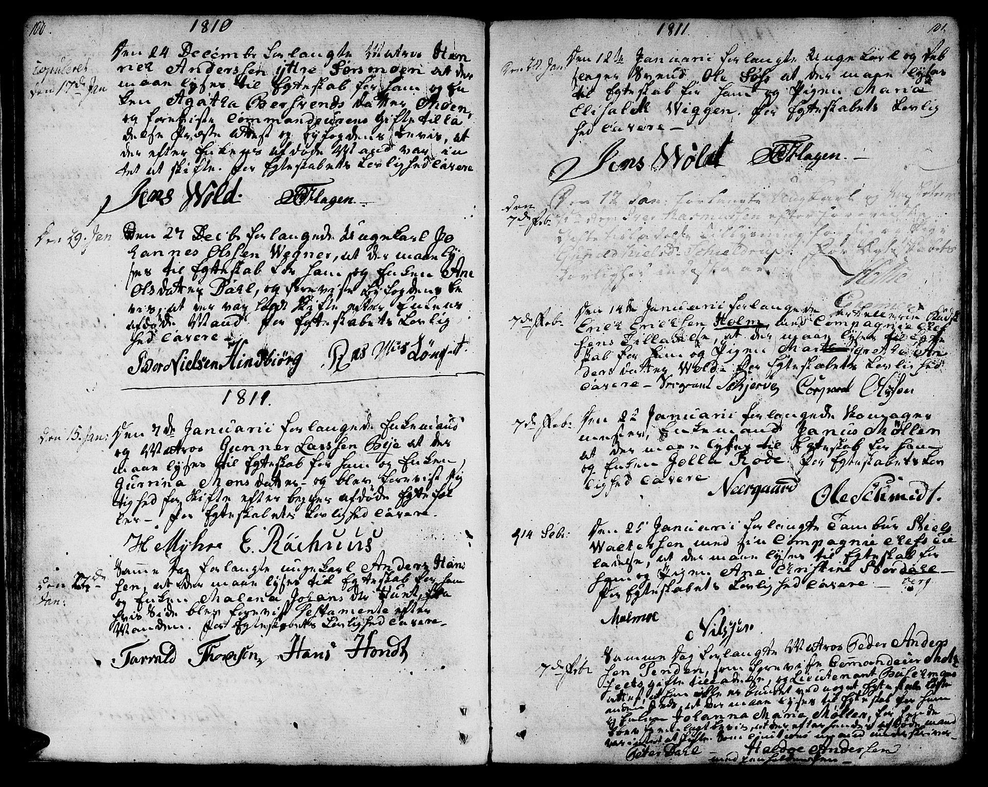 SAT, Ministerialprotokoller, klokkerbøker og fødselsregistre - Sør-Trøndelag, 601/L0042: Ministerialbok nr. 601A10, 1802-1830, s. 100-101