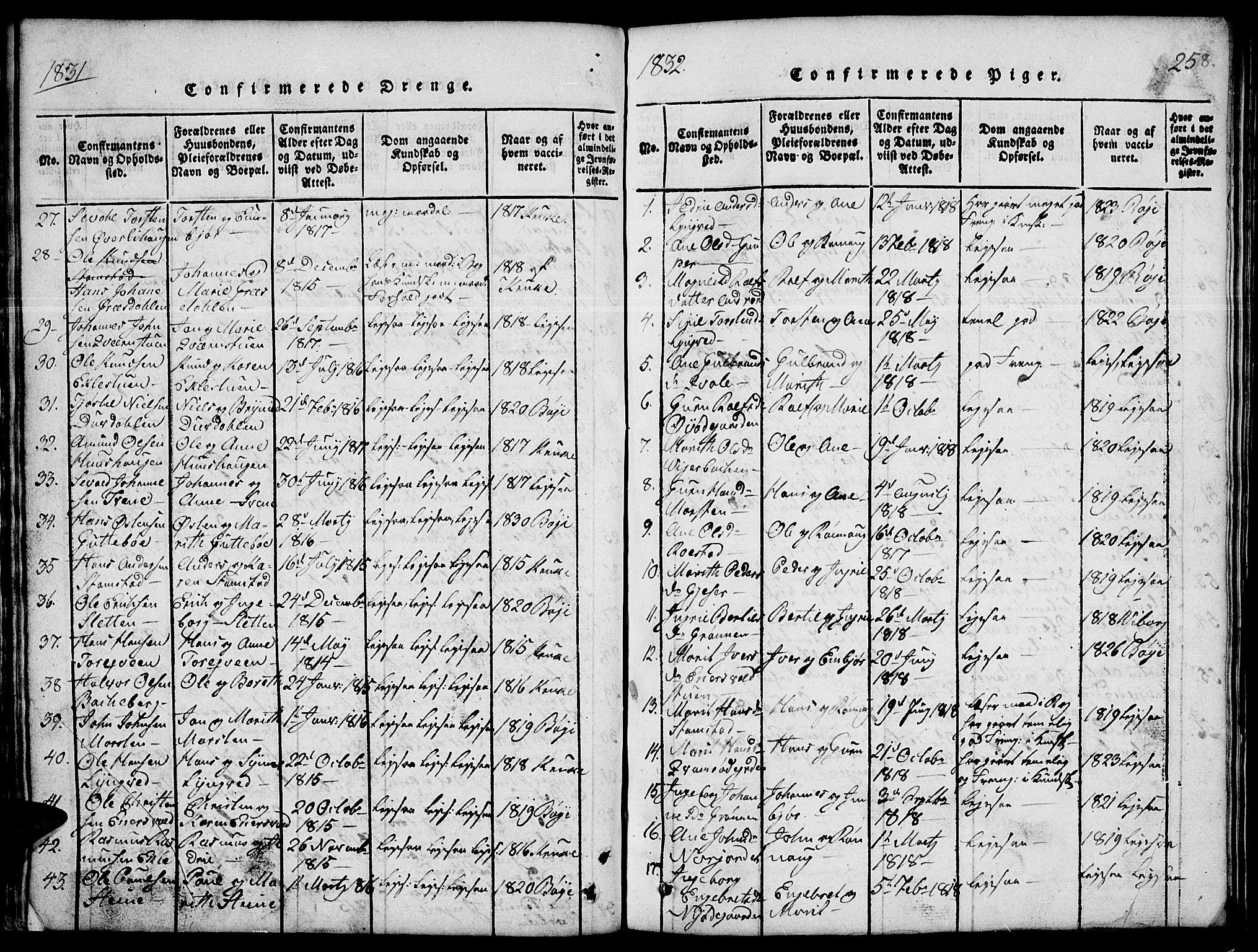 SAH, Lom prestekontor, L/L0001: Klokkerbok nr. 1, 1815-1836, s. 258