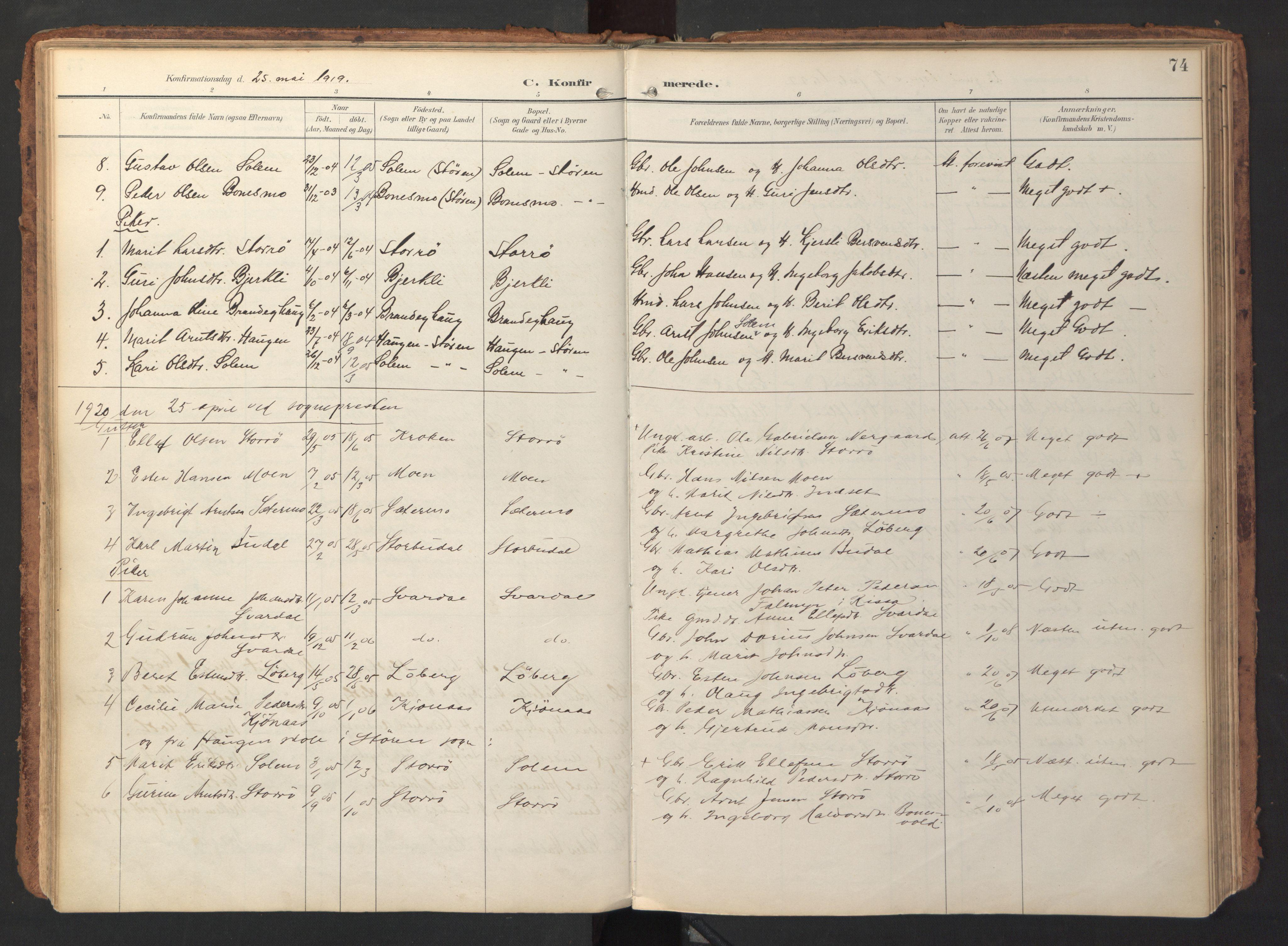 SAT, Ministerialprotokoller, klokkerbøker og fødselsregistre - Sør-Trøndelag, 690/L1050: Ministerialbok nr. 690A01, 1889-1929, s. 74