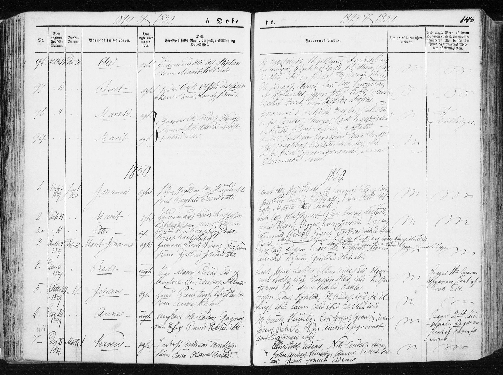 SAT, Ministerialprotokoller, klokkerbøker og fødselsregistre - Sør-Trøndelag, 665/L0771: Ministerialbok nr. 665A06, 1830-1856, s. 148
