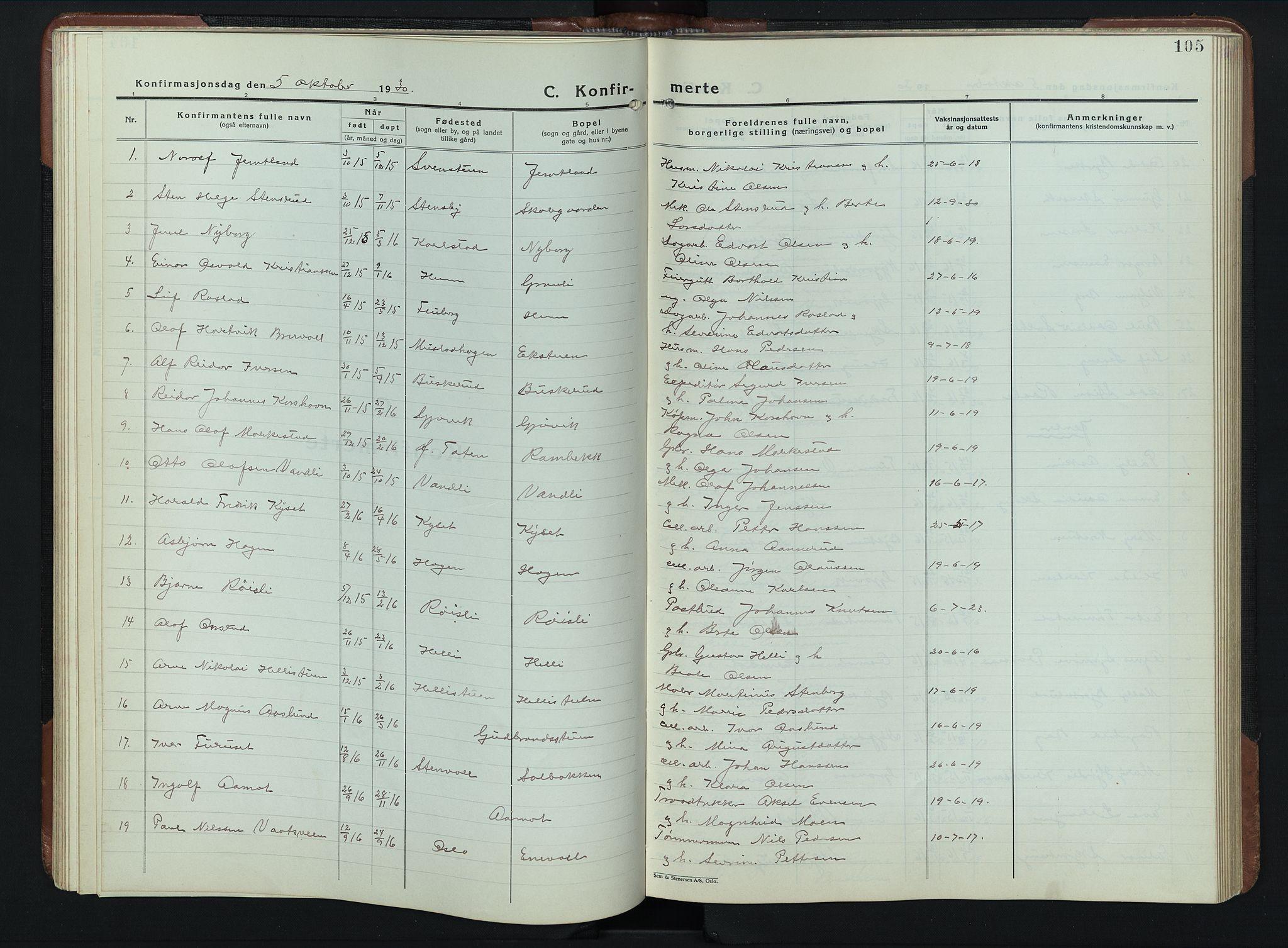 SAH, Vardal prestekontor, H/Ha/Hab/L0023: Klokkerbok nr. 23, 1929-1941, s. 105