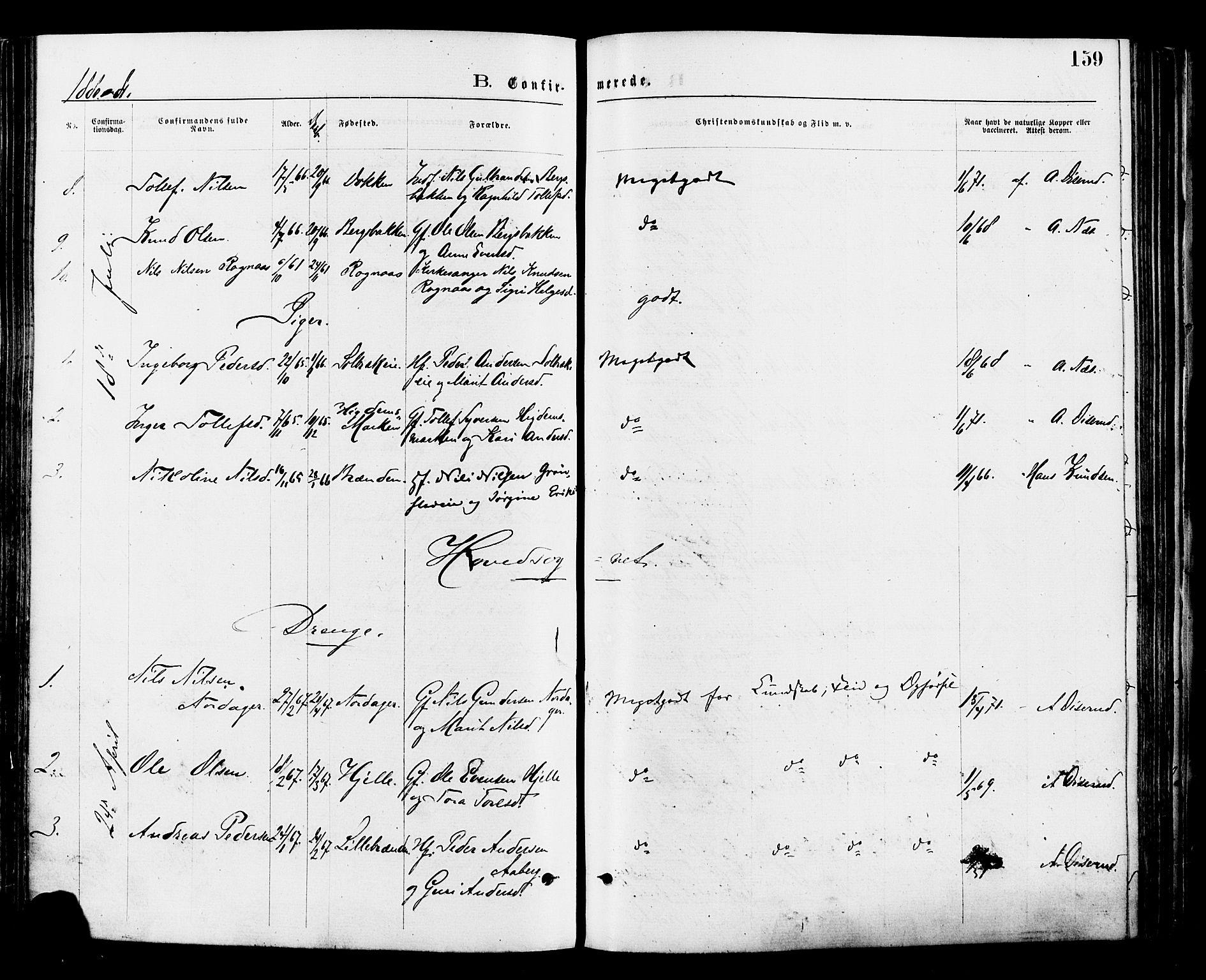 SAH, Nord-Aurdal prestekontor, Ministerialbok nr. 9, 1876-1882, s. 159