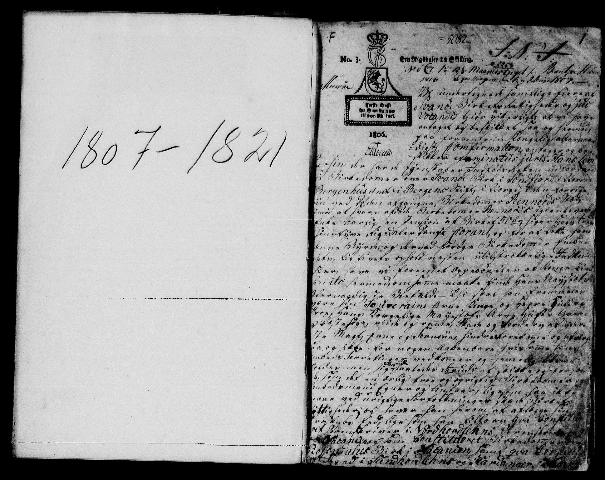 SAB, Sunnfjord tingrett, G/Gb/Gba/L0008: Pantebok nr. II.B.8, 1807-1821, s. 1