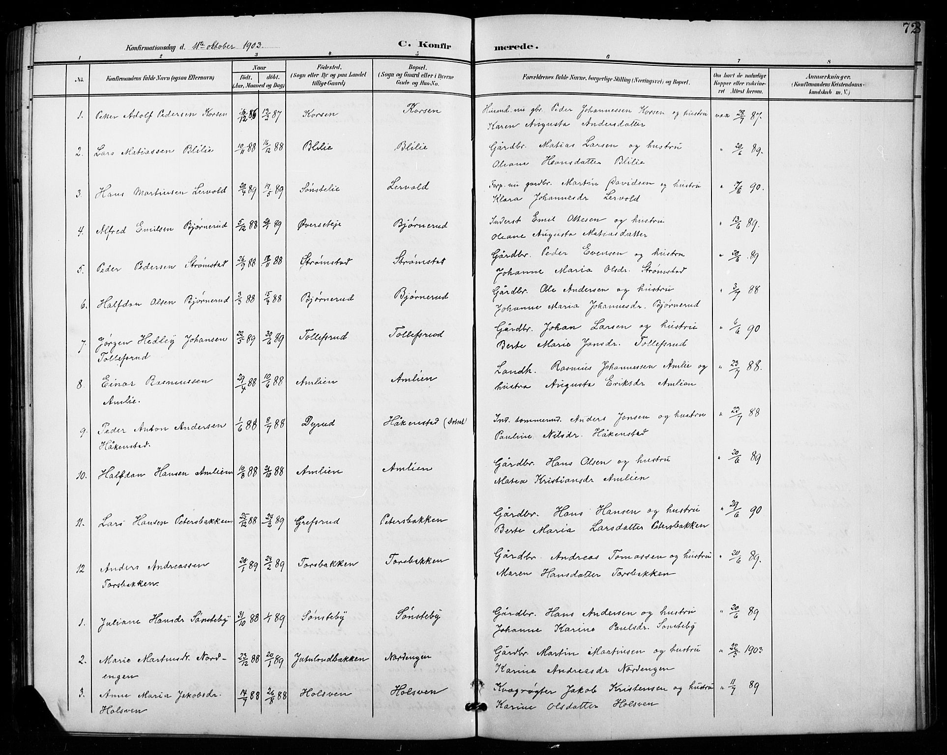 SAH, Vestre Toten prestekontor, Klokkerbok nr. 16, 1901-1915, s. 72