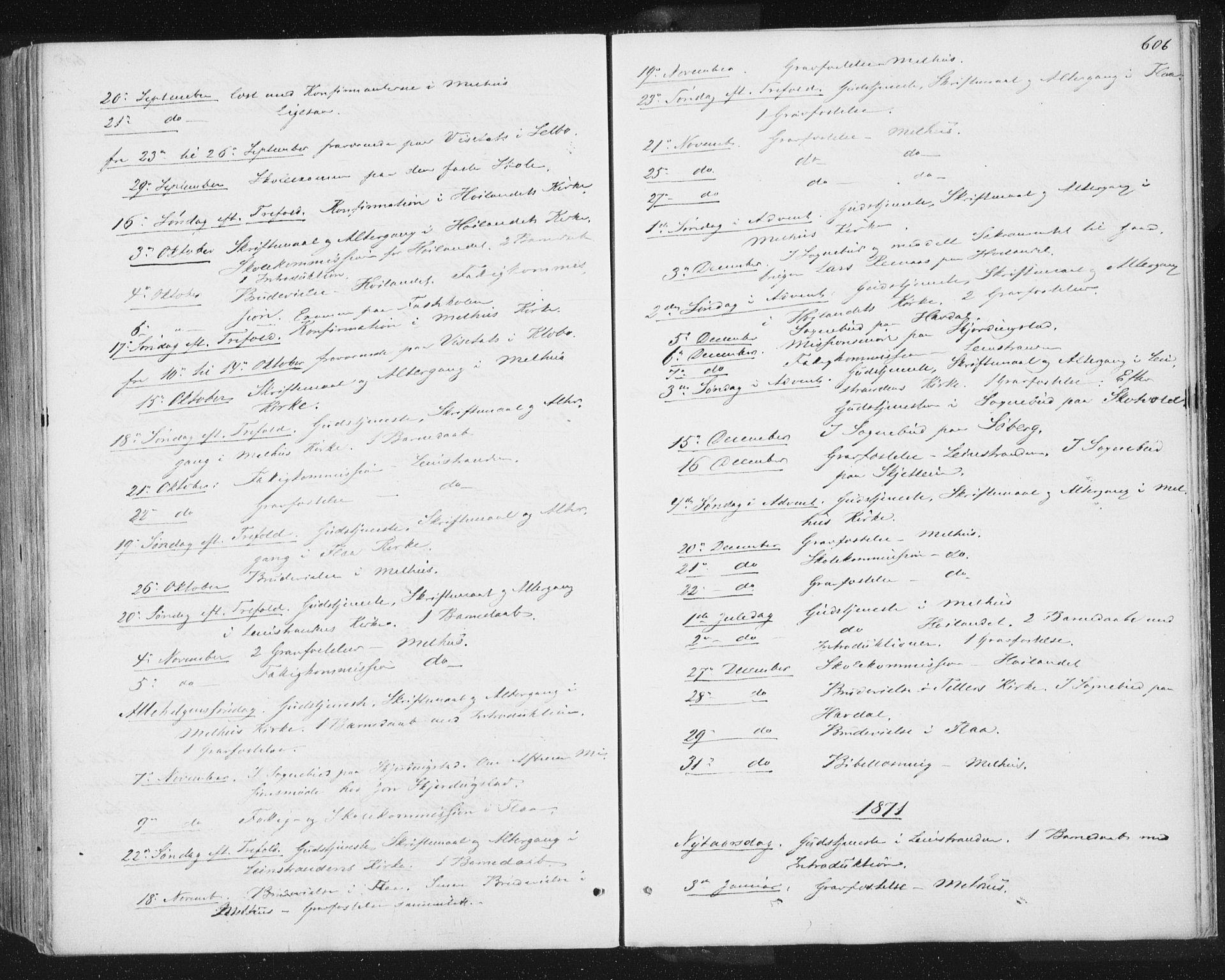 SAT, Ministerialprotokoller, klokkerbøker og fødselsregistre - Sør-Trøndelag, 691/L1077: Ministerialbok nr. 691A09, 1862-1873, s. 606