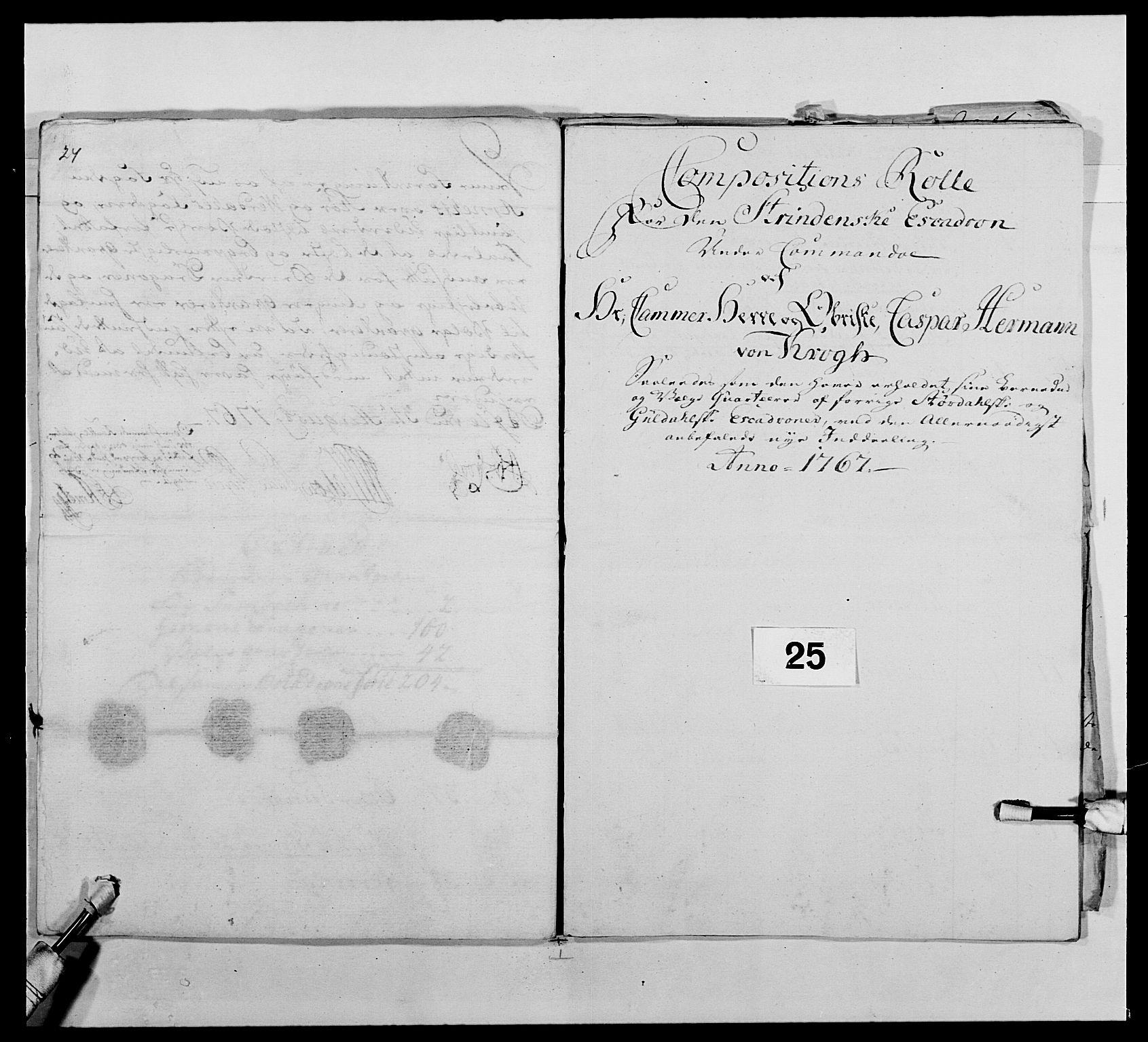 RA, Kommanderende general (KG I) med Det norske krigsdirektorium, E/Ea/L0483: Nordafjelske dragonregiment, 1765-1767, s. 625