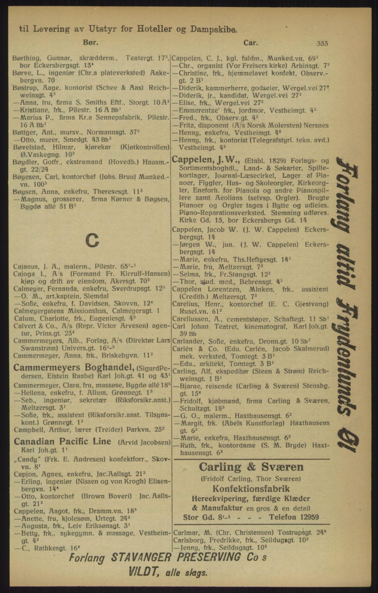 RA, Kristiania adressebok (publikasjon)*, 1915, s. 353