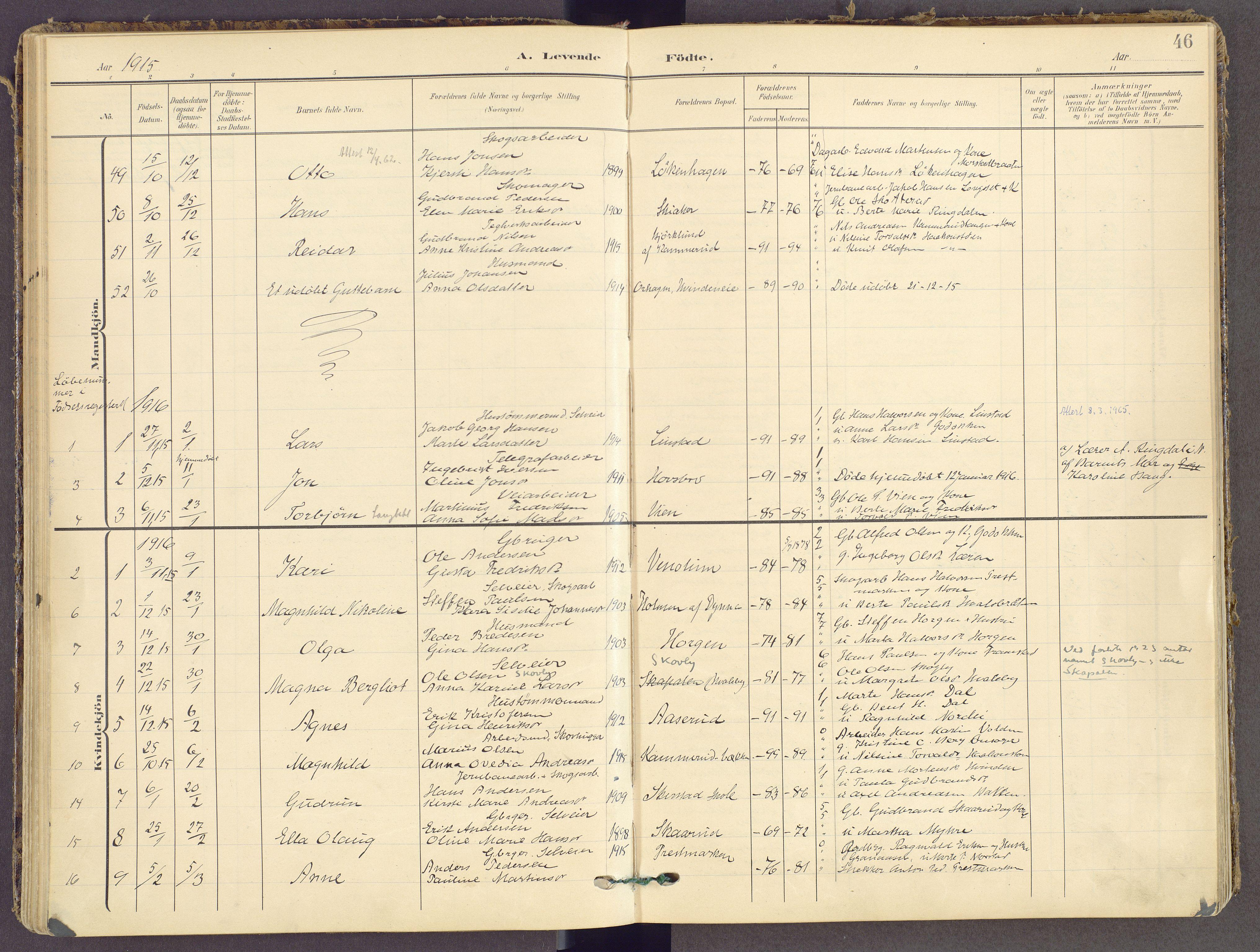 SAH, Gran prestekontor, Ministerialbok nr. 21, 1908-1932, s. 46
