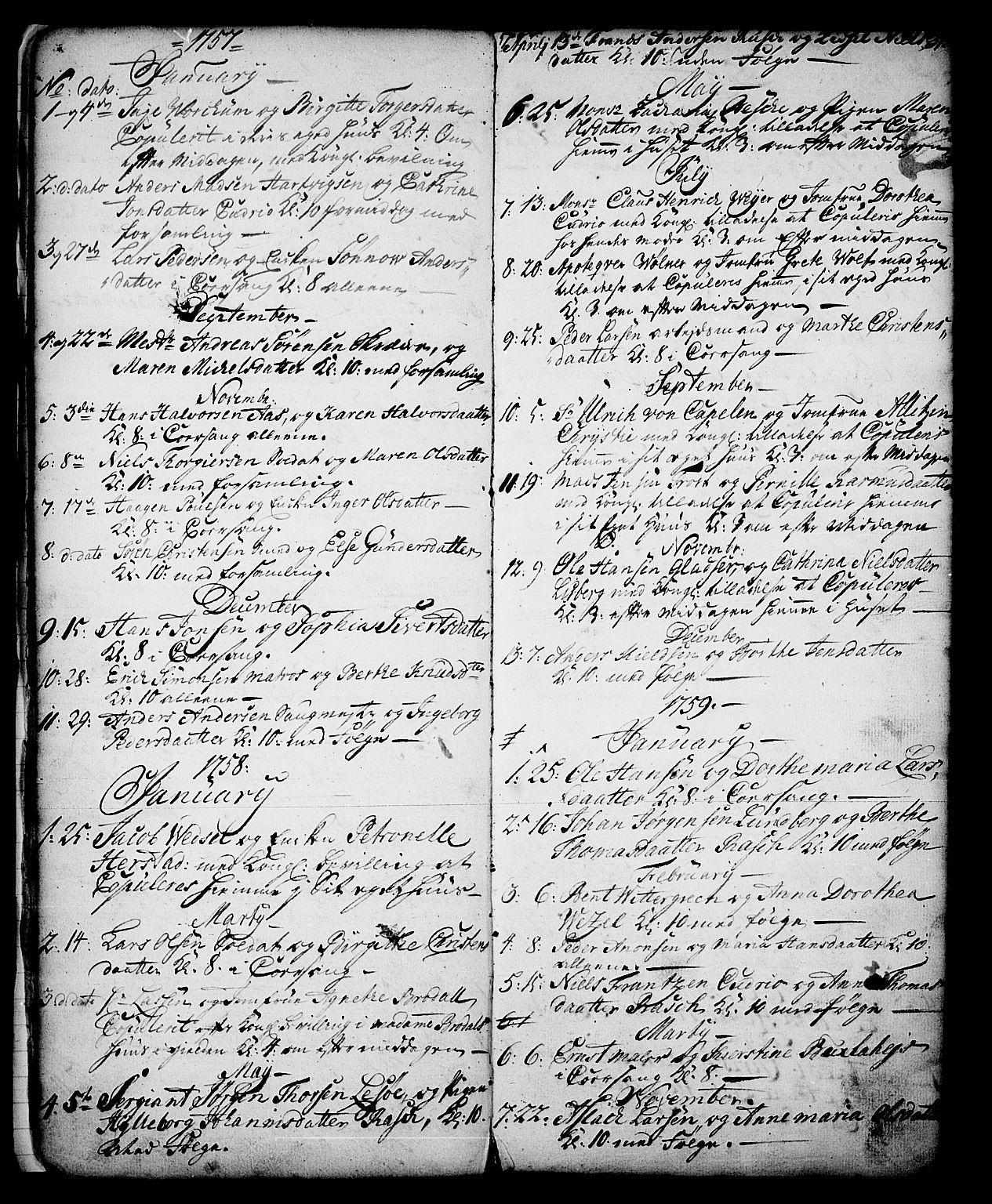 SAKO, Skien kirkebøker, G/Ga/L0001: Klokkerbok nr. 1, 1756-1791, s. 31