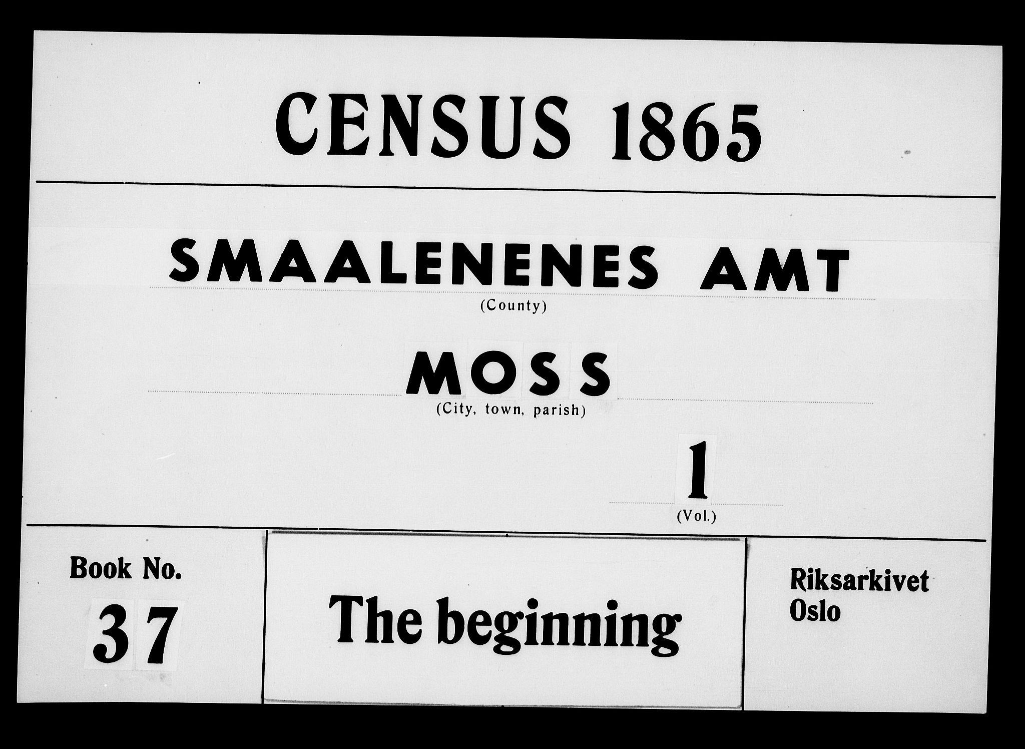 RA, Folketelling 1865 for 0104B Moss prestegjeld, Moss kjøpstad, 1865, s. 1