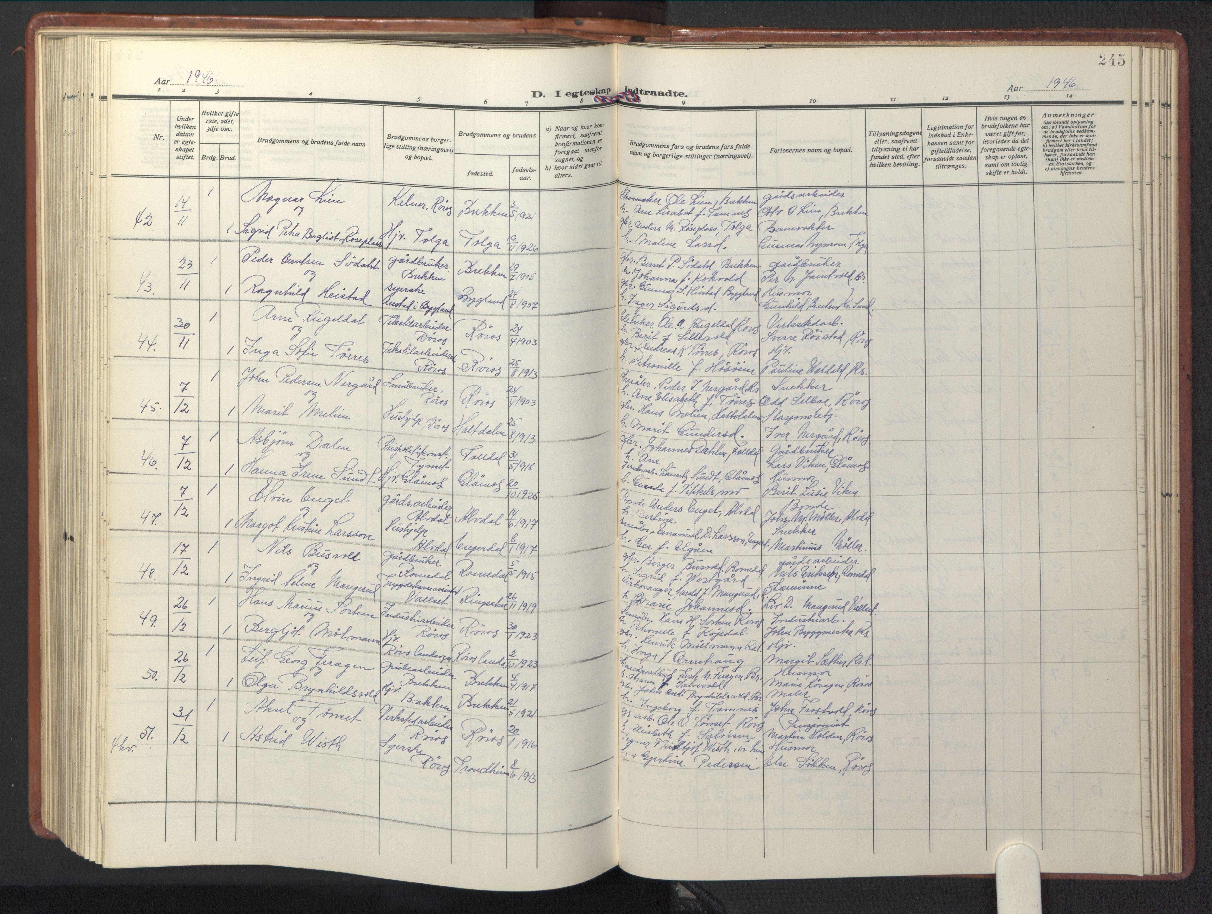 SAT, Ministerialprotokoller, klokkerbøker og fødselsregistre - Sør-Trøndelag, 681/L0943: Klokkerbok nr. 681C07, 1926-1954, s. 245