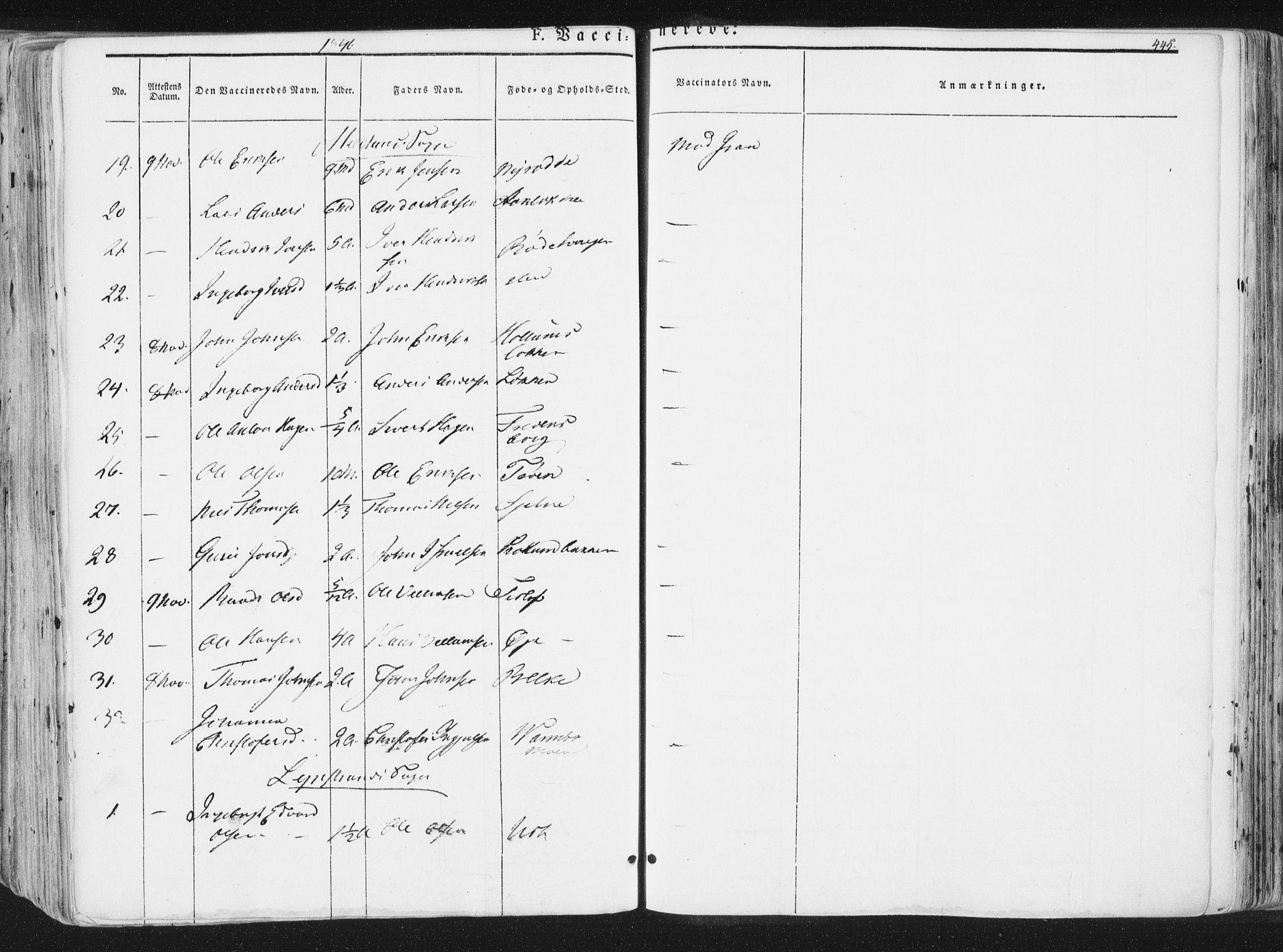 SAT, Ministerialprotokoller, klokkerbøker og fødselsregistre - Sør-Trøndelag, 691/L1074: Ministerialbok nr. 691A06, 1842-1852, s. 445