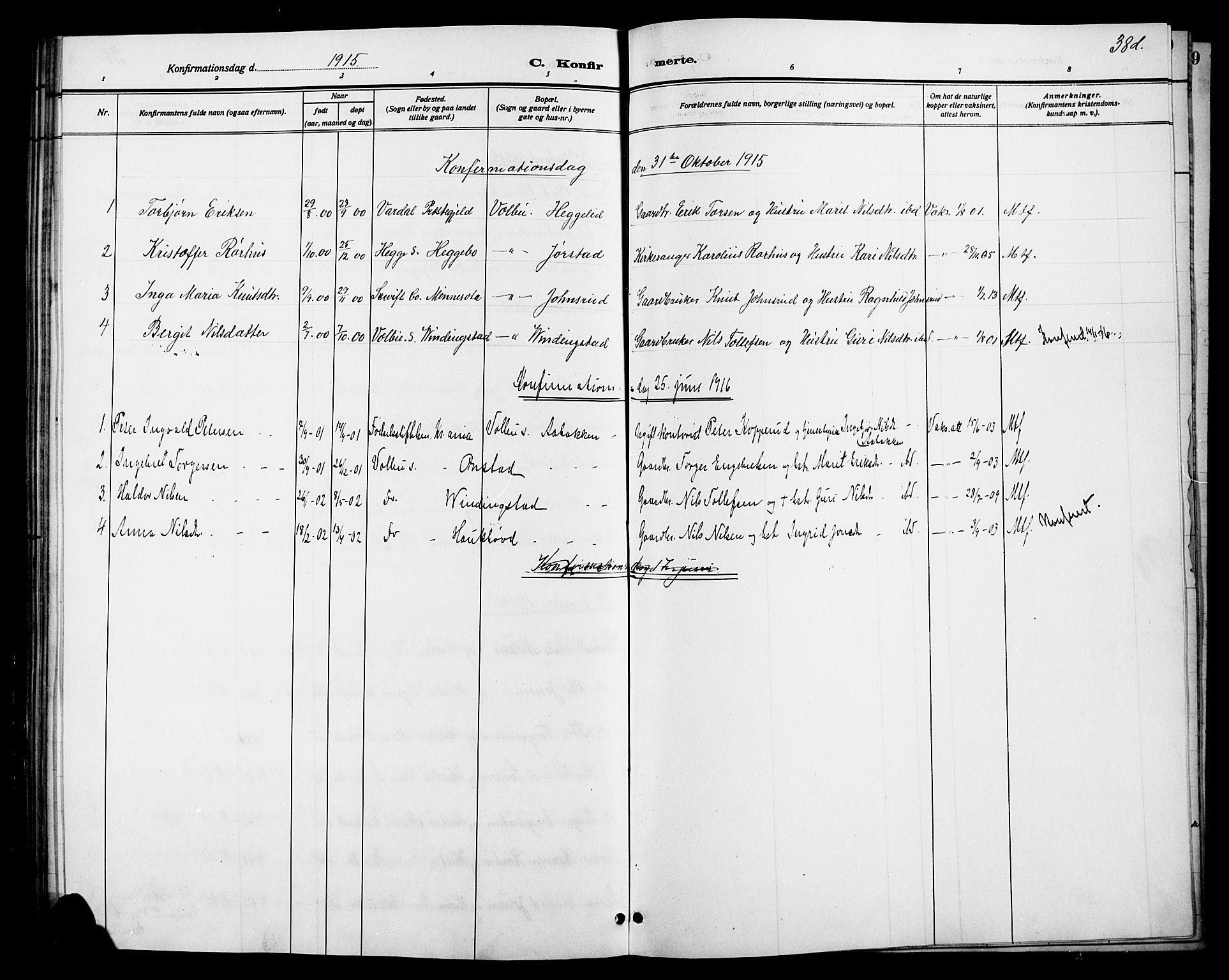 SAH, Øystre Slidre prestekontor, Klokkerbok nr. 6, 1887-1916, s. 38d