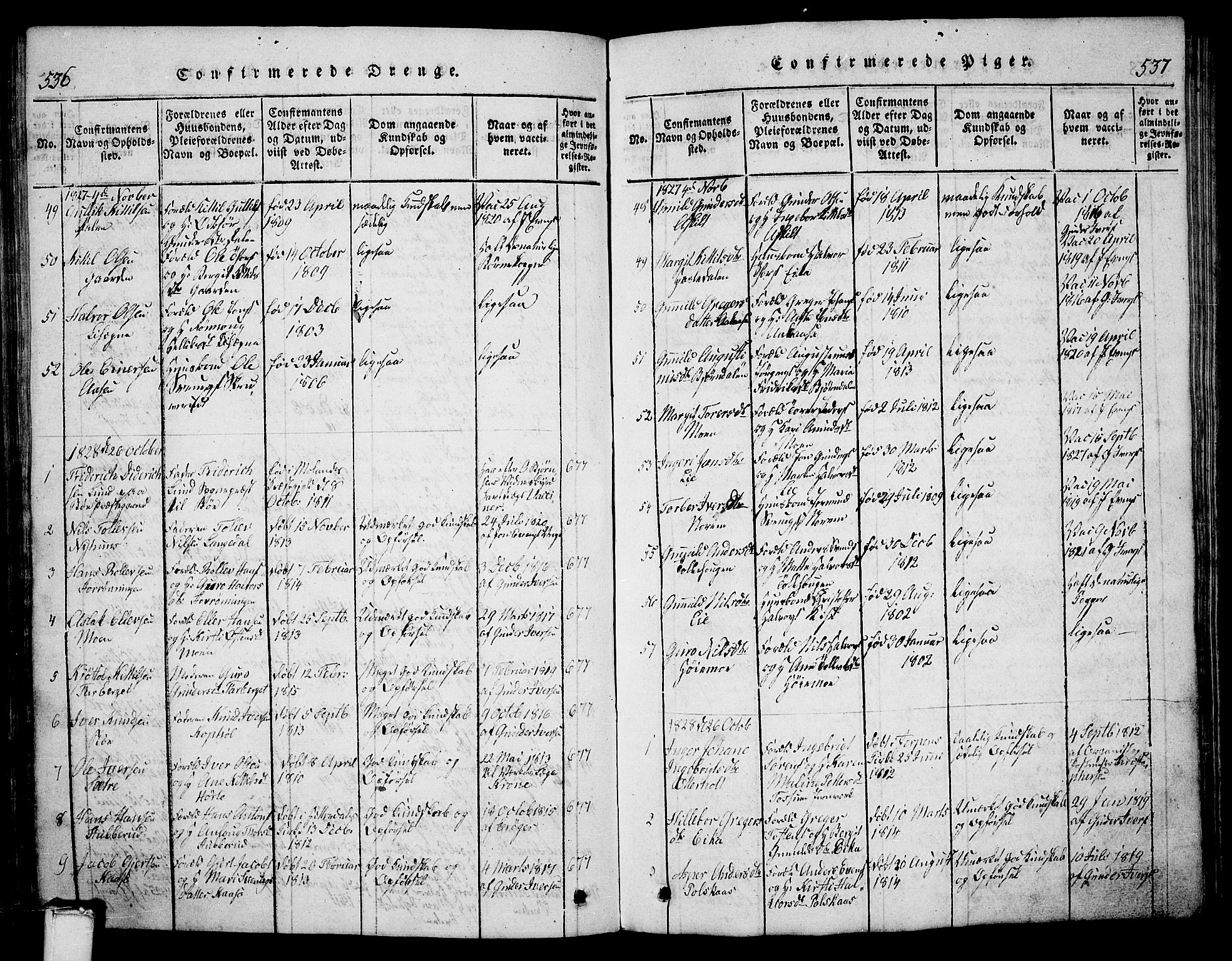 SAKO, Bø kirkebøker, G/Ga/L0001: Klokkerbok nr. 1, 1815-1831, s. 536-537