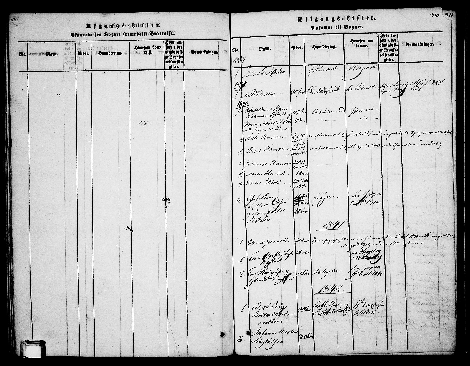 SAKO, Skien kirkebøker, F/Fa/L0005: Ministerialbok nr. 5, 1814-1843, s. 310
