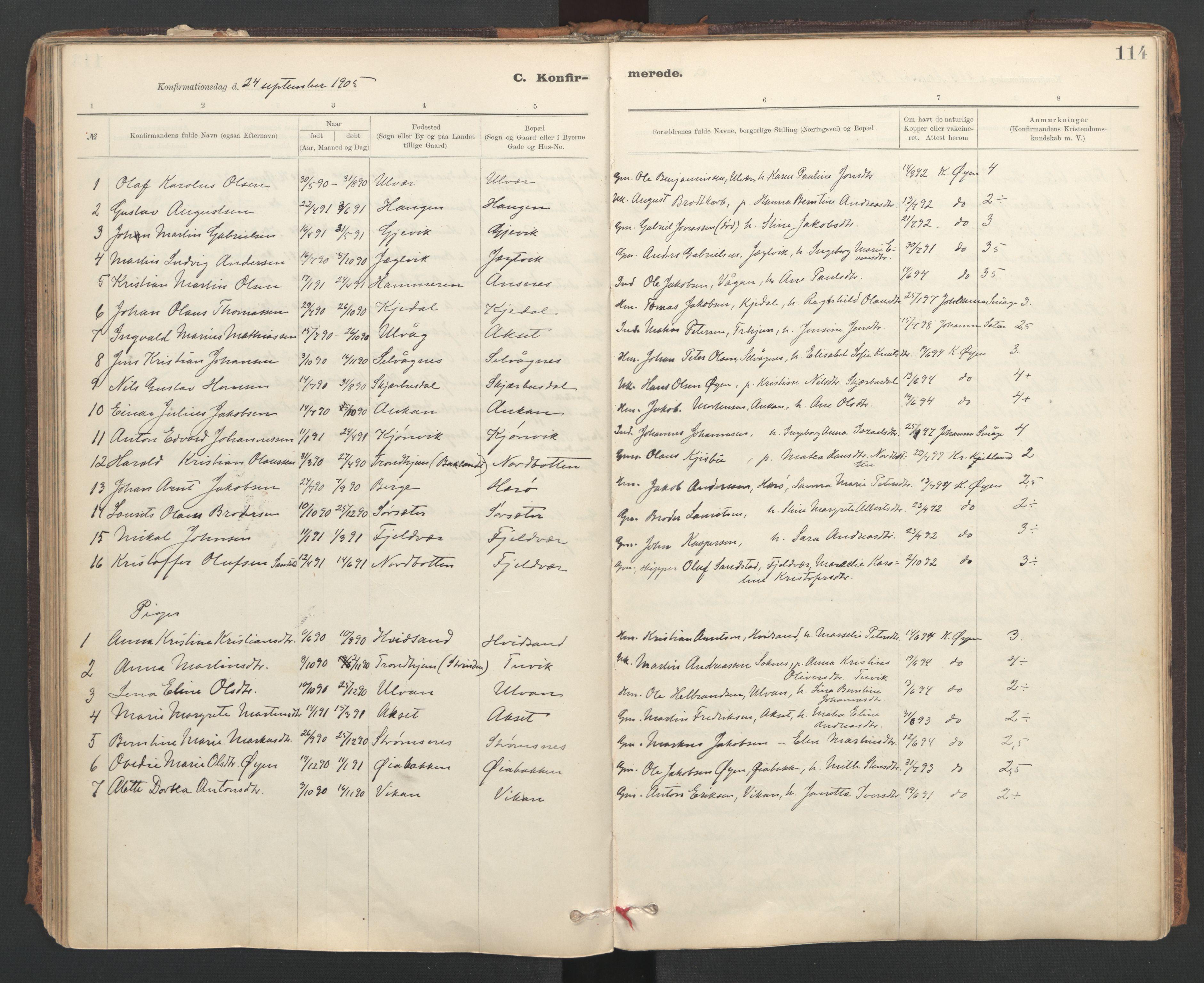 SAT, Ministerialprotokoller, klokkerbøker og fødselsregistre - Sør-Trøndelag, 637/L0559: Ministerialbok nr. 637A02, 1899-1923, s. 114