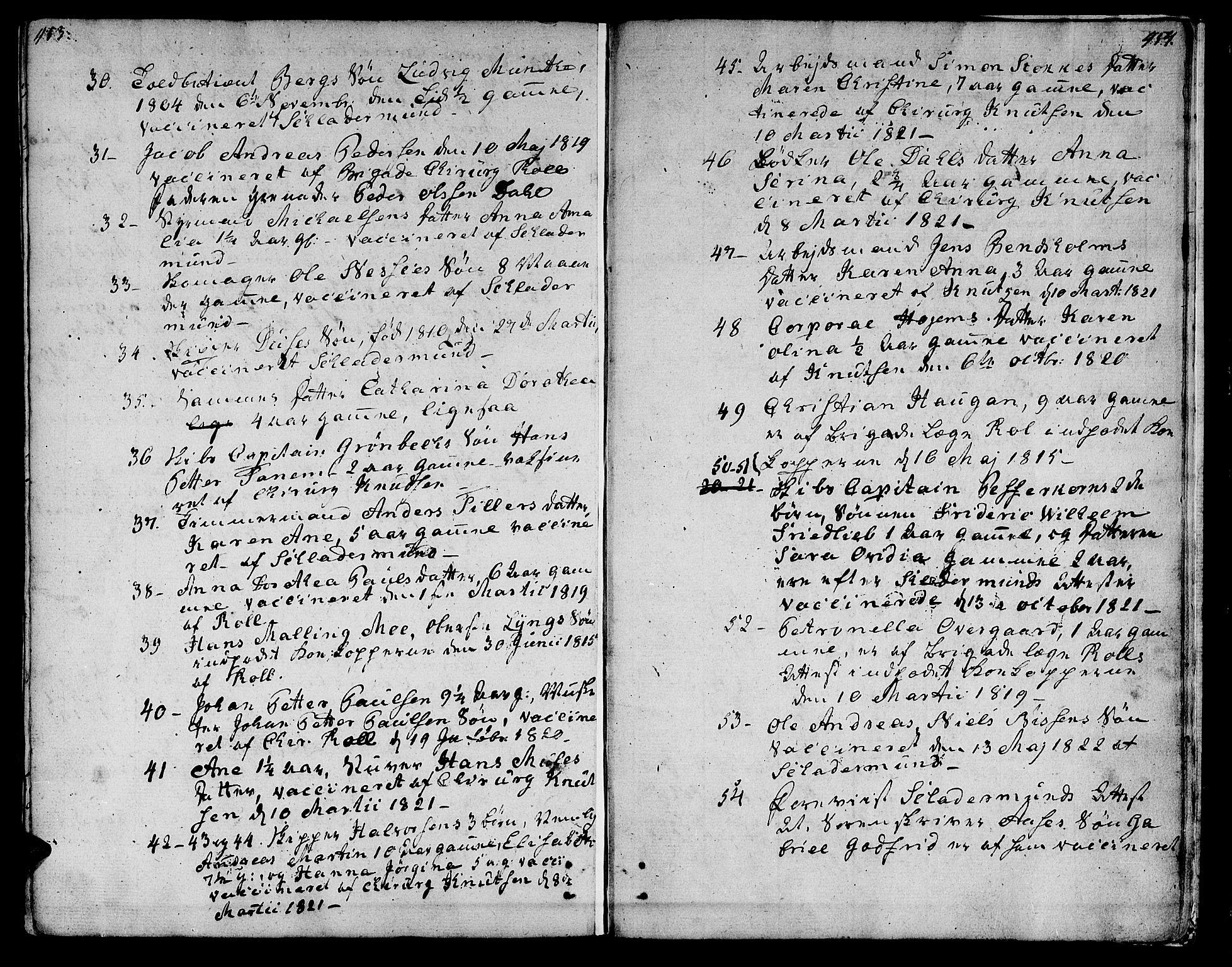 SAT, Ministerialprotokoller, klokkerbøker og fødselsregistre - Sør-Trøndelag, 601/L0042: Ministerialbok nr. 601A10, 1802-1830, s. 453-454