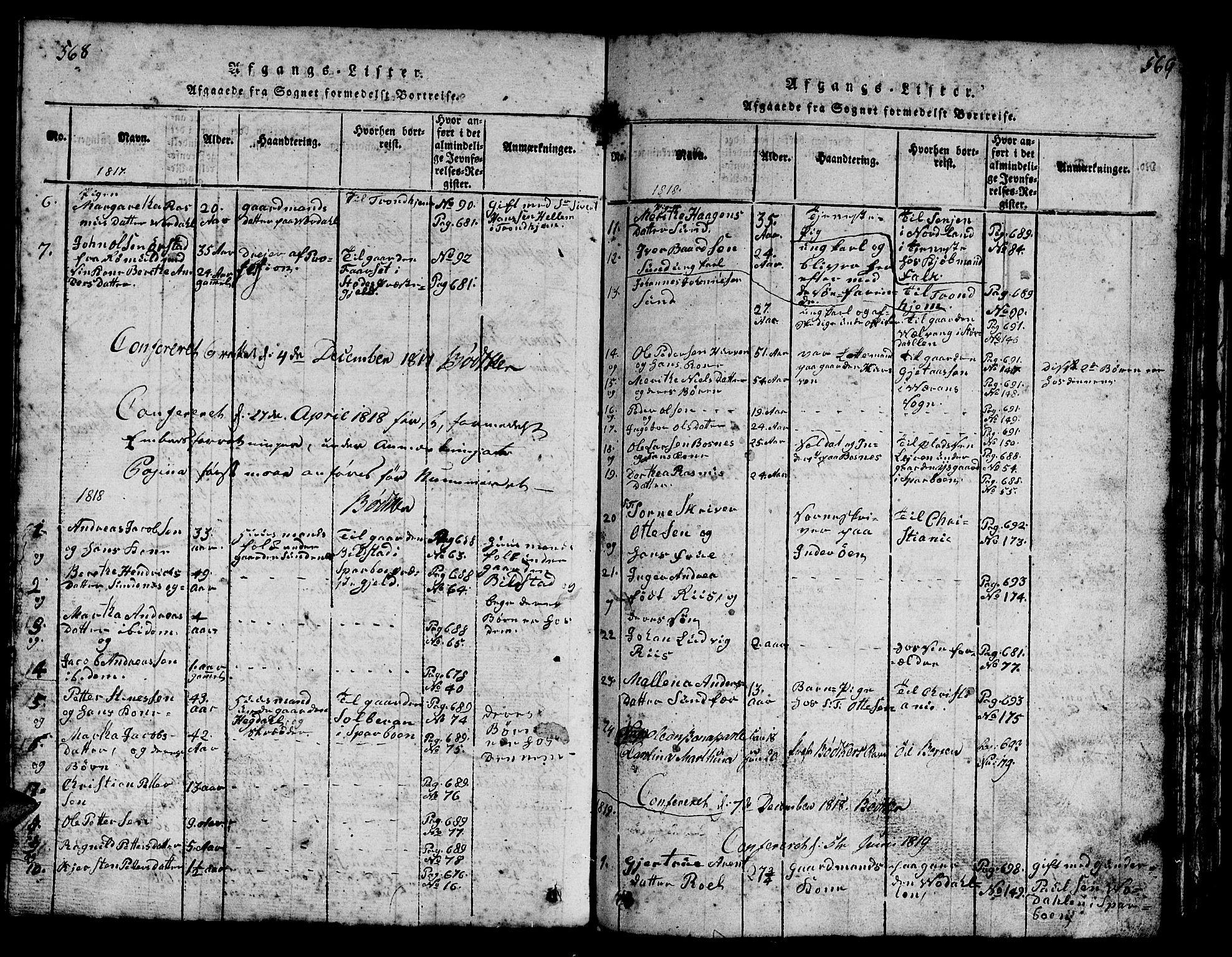 SAT, Ministerialprotokoller, klokkerbøker og fødselsregistre - Nord-Trøndelag, 730/L0298: Klokkerbok nr. 730C01, 1816-1849, s. 568-569