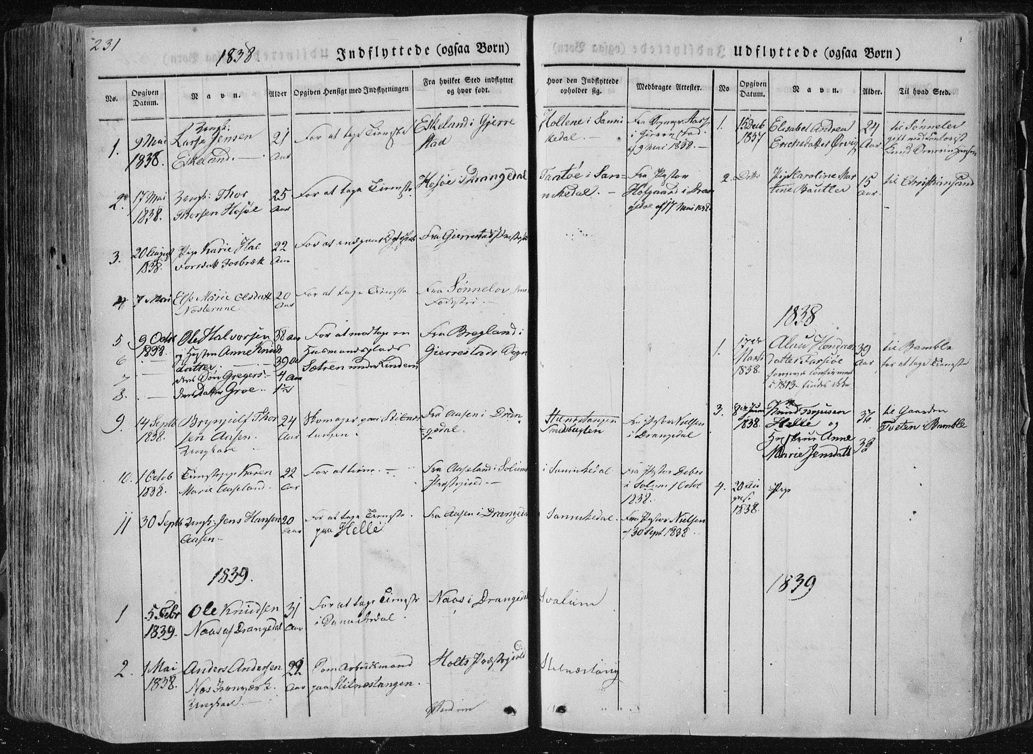 SAKO, Sannidal kirkebøker, F/Fa/L0007: Ministerialbok nr. 7, 1831-1854, s. 231