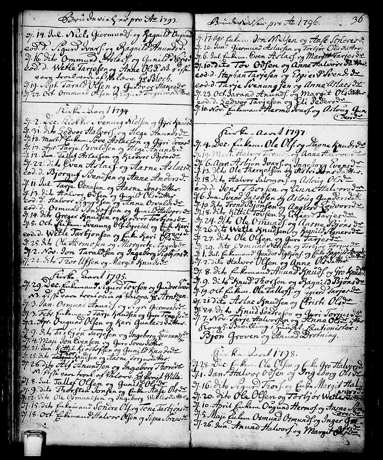 SAKO, Vinje kirkebøker, F/Fa/L0002: Ministerialbok nr. I 2, 1767-1814, s. 36