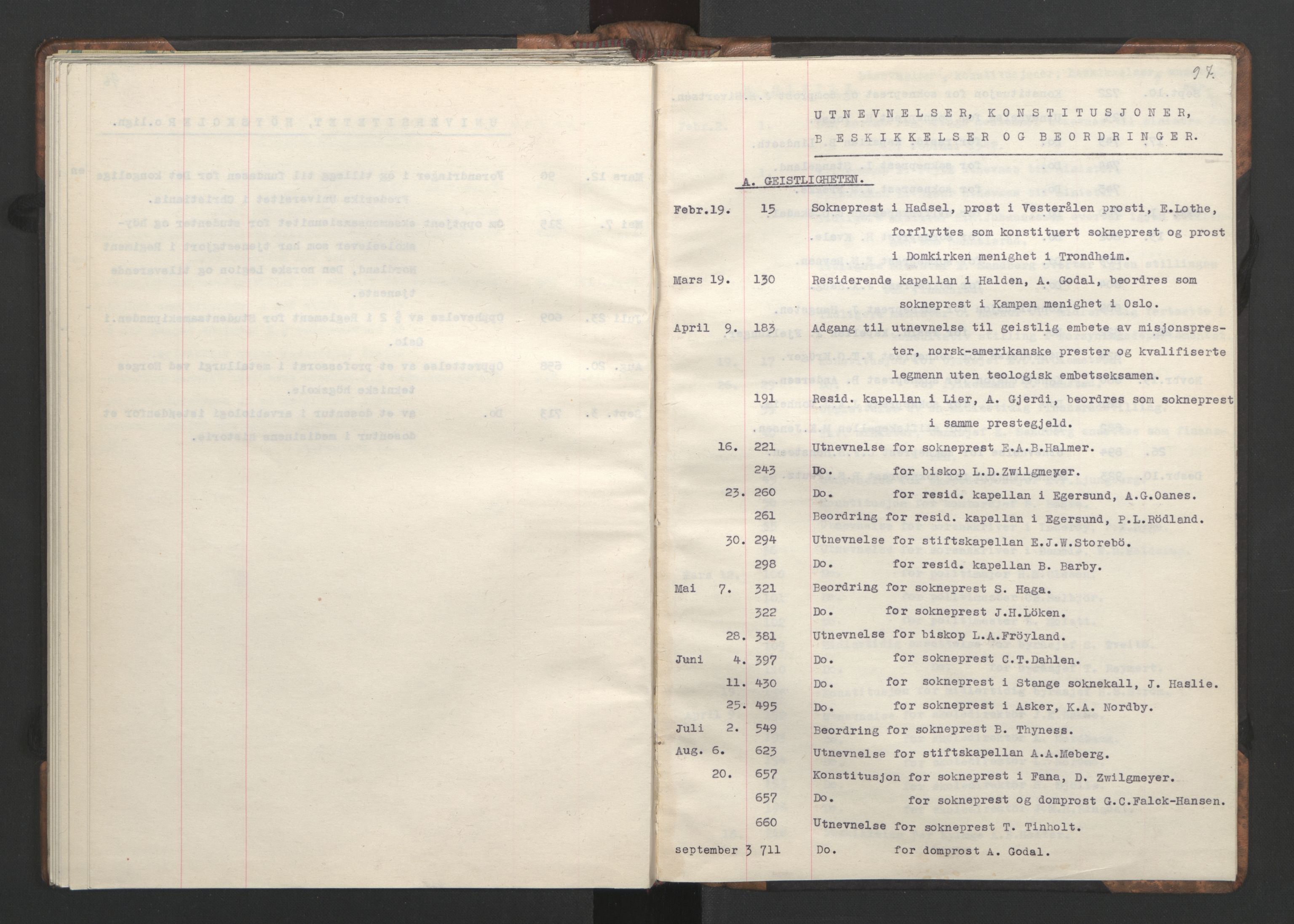 RA, NS-administrasjonen 1940-1945 (Statsrådsekretariatet, de kommisariske statsråder mm), D/Da/L0002: Register (RA j.nr. 985/1943, tilgangsnr. 17/1943), 1942, s. 96b-97a